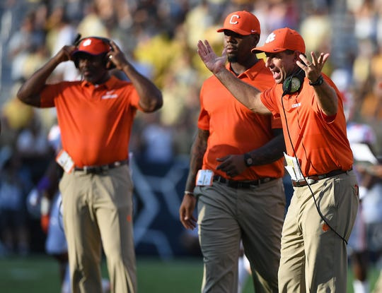 Clemson head coach Dabo Swinney argues a call during the 3rd quarter at Georgia Tech's Bobby Dodd Stadium Saturday, September 22, 2018.
