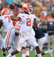 Clemson quarterback Kelly Bryant looks to throw against Georgia Tech in a game earlier this season.