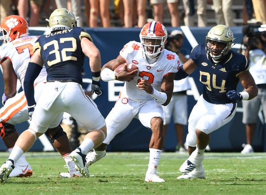 Clemson quarterback Kelly Bryant (2) carries against Georgia Tech during the 1st quarter at Georgia Tech's Bobby Dodd Stadium Saturday, September 22, 2018.