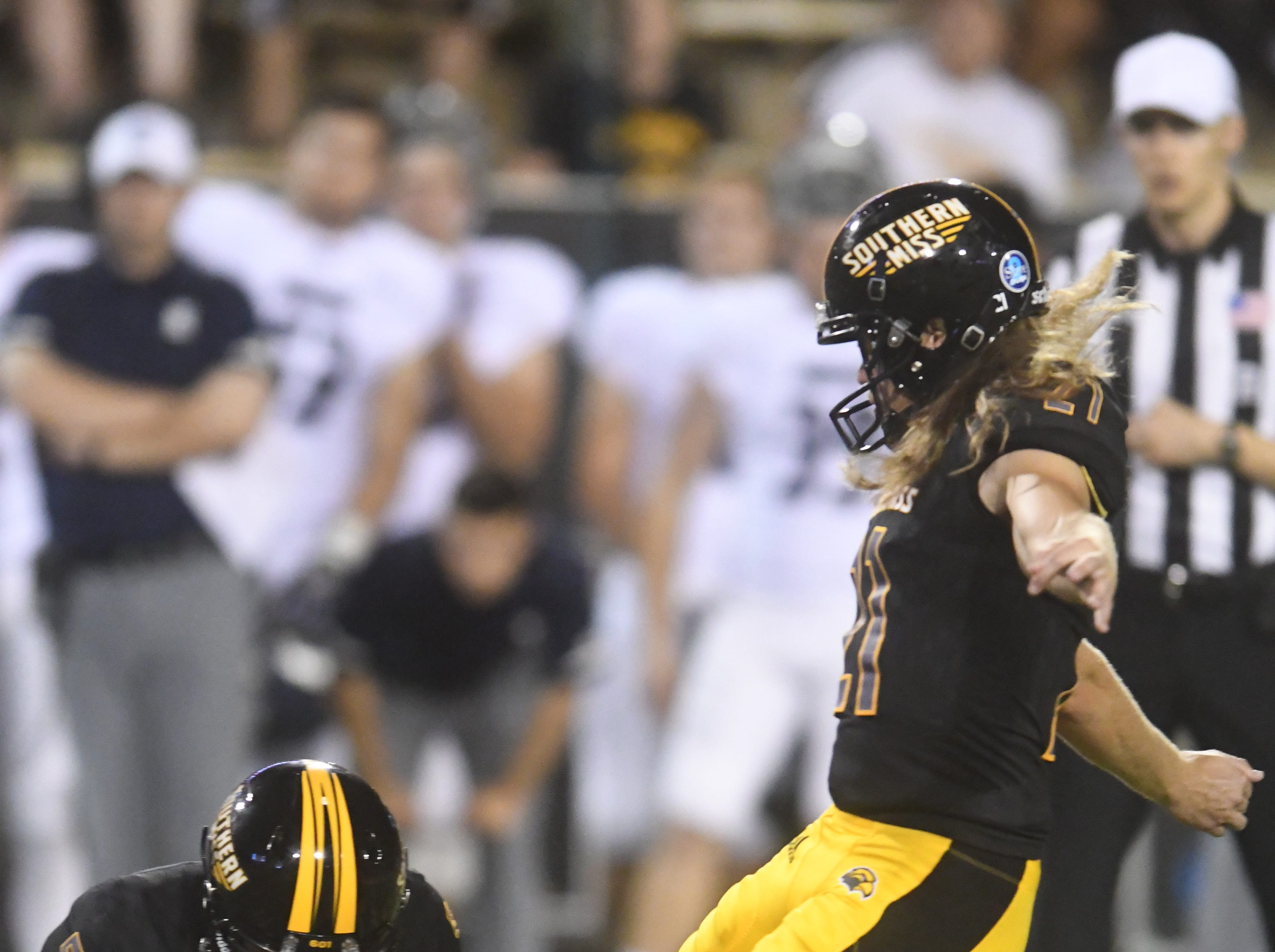 Southern Miss kicker Parker Shaunfield attempts to score a field goal in a game against Rice at M.M. Roberts Stadium on Saturday, September 22, 2018.