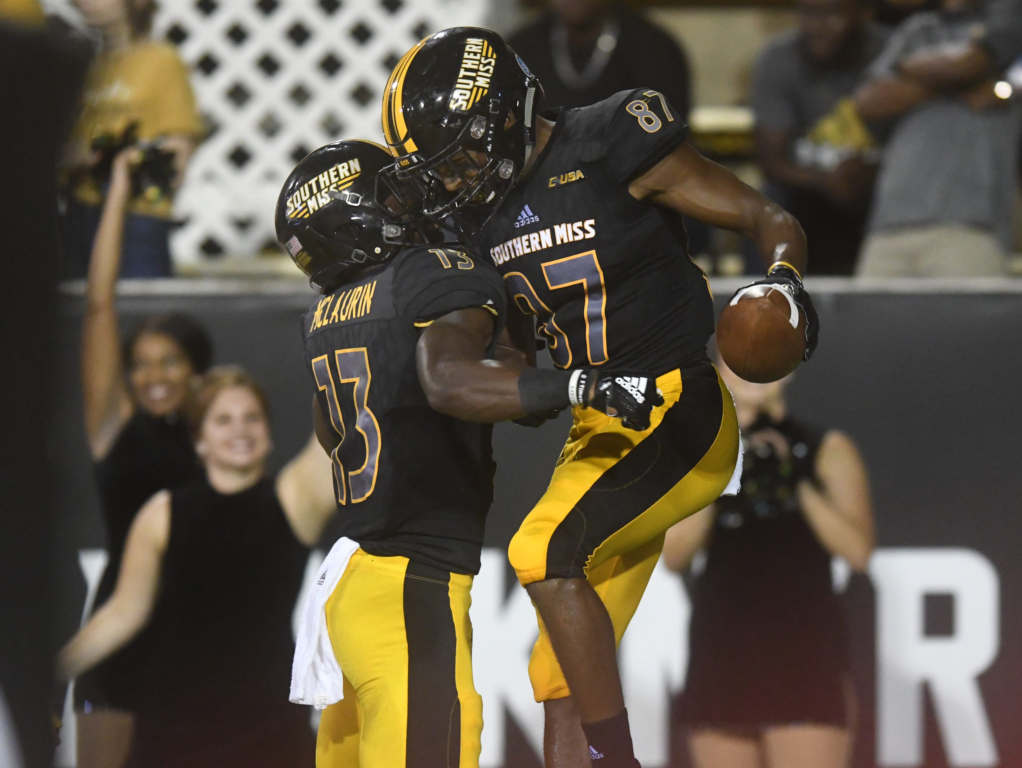 Southern Miss wide receiver Tim Jones celebrates after a touchdown in a game against Rice at M.M. Roberts Stadium on Saturday, September 22, 2018.