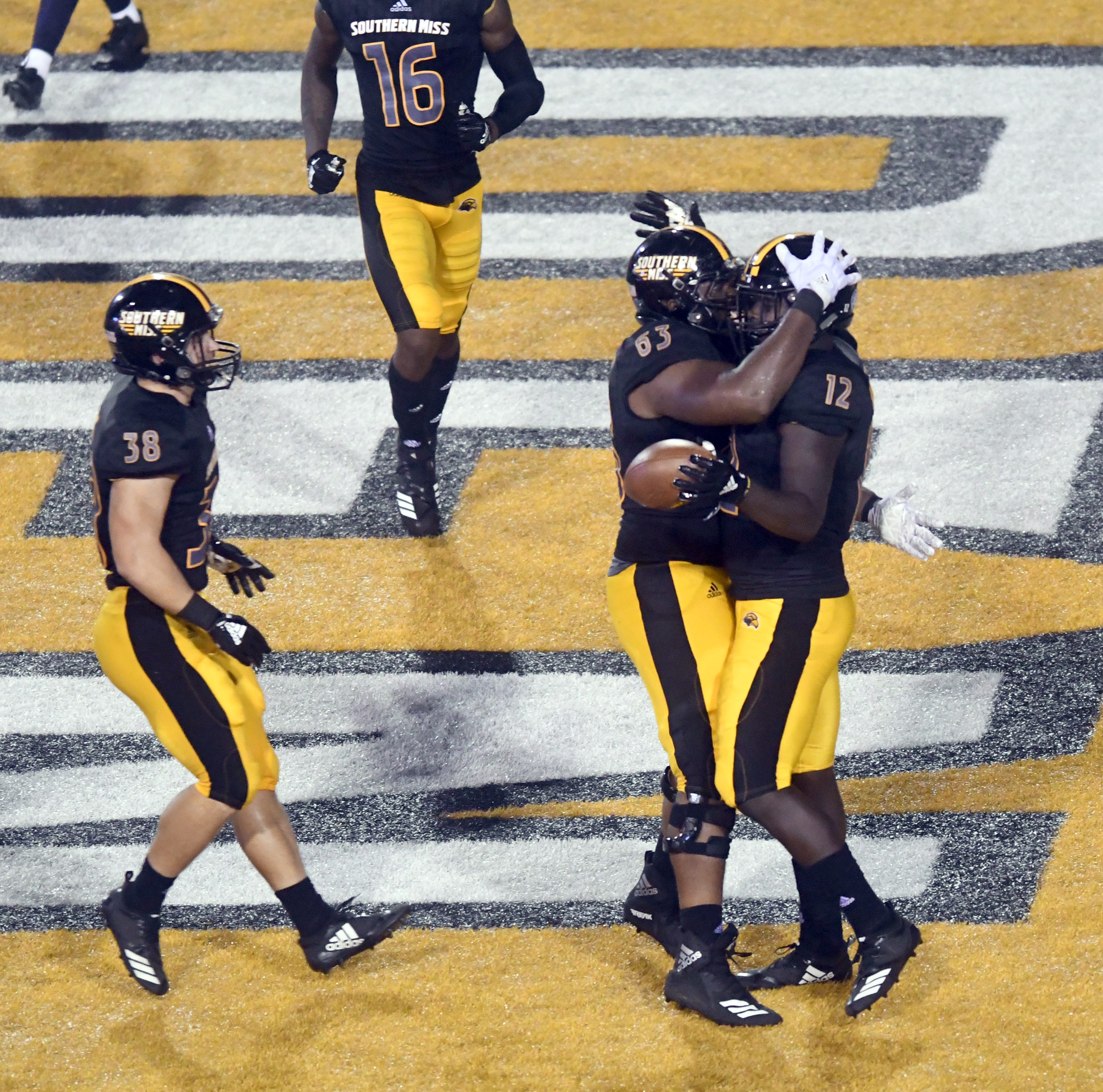 Southern Miss running back Steven Anderson scores a touchdown in a game against Rice at M.M. Roberts Stadium on Saturday, September 22, 2018.