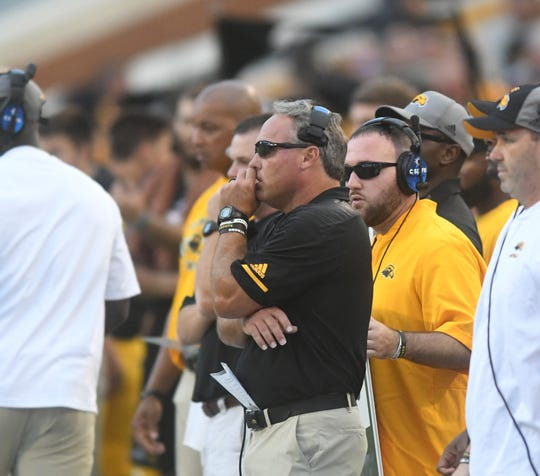 Southern Miss head coach Jay Hopson watches his players from the sideline in a game against Rice at M.M. Roberts Stadium on Saturday, September 22, 2018.