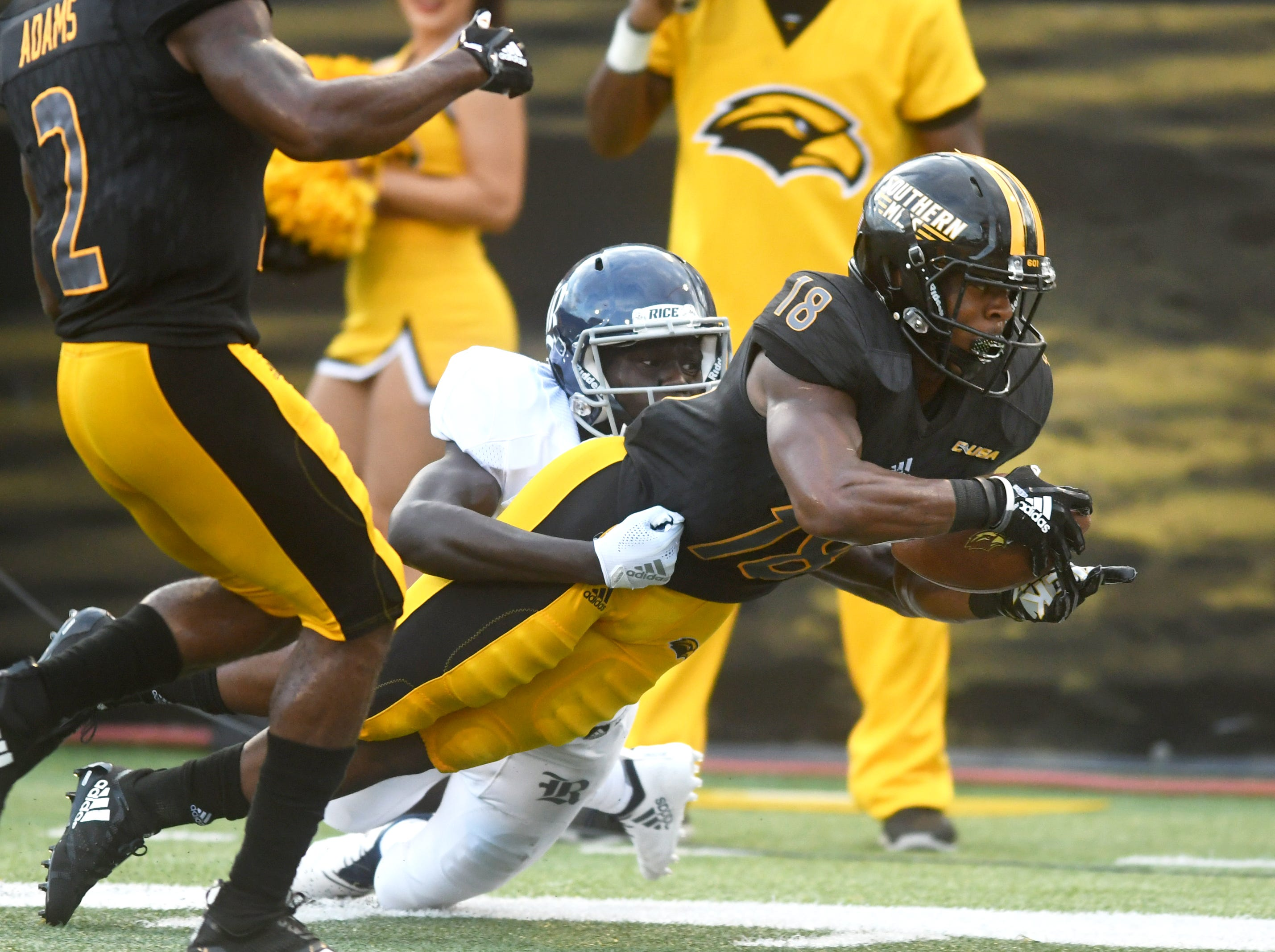 Southern Miss wide receiver De'Michael Harries reaches towards the end zone in a game against Rice at M.M. Roberts Stadium on Saturday, September 22, 2018.