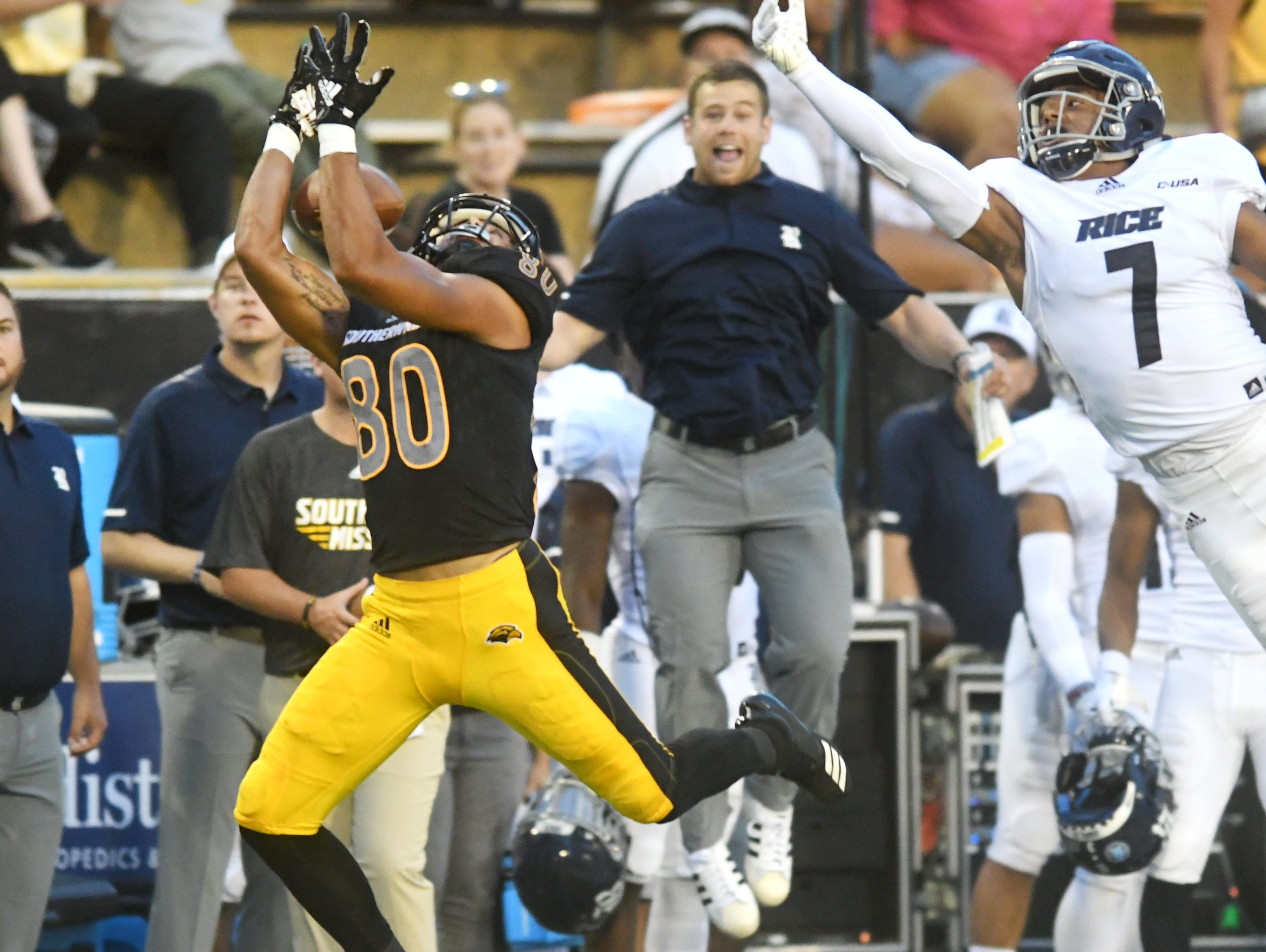 Southern Miss wide receiver Jordan Mitchell catches the ball in a game against Rice at M.M. Roberts Stadium on Saturday, September 22, 2018.