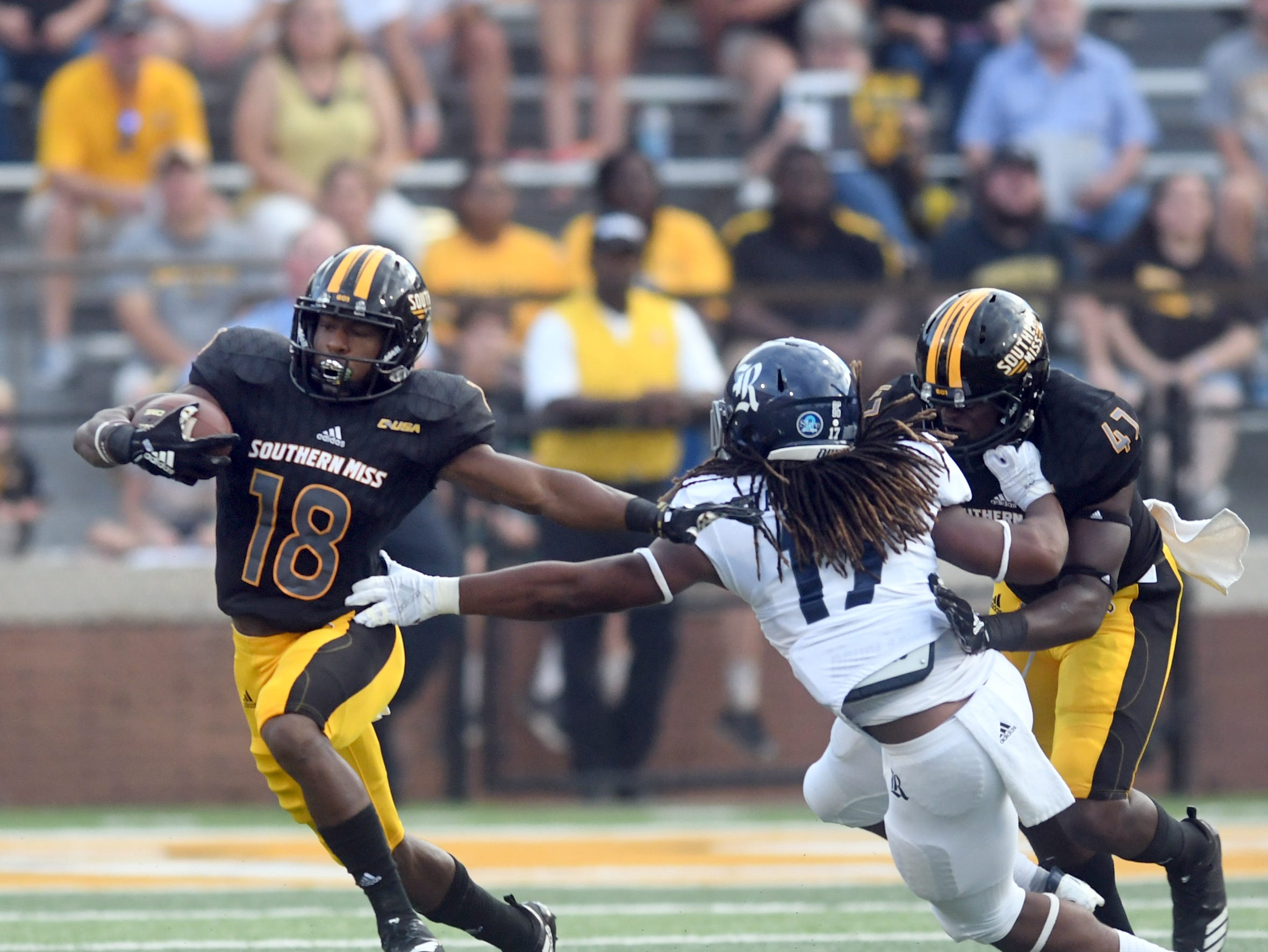 Southern Miss wide receiver De'Michael Harries runs the ball down the field in a game against Rice at M.M. Roberts Stadium on Saturday, September 22, 2018.