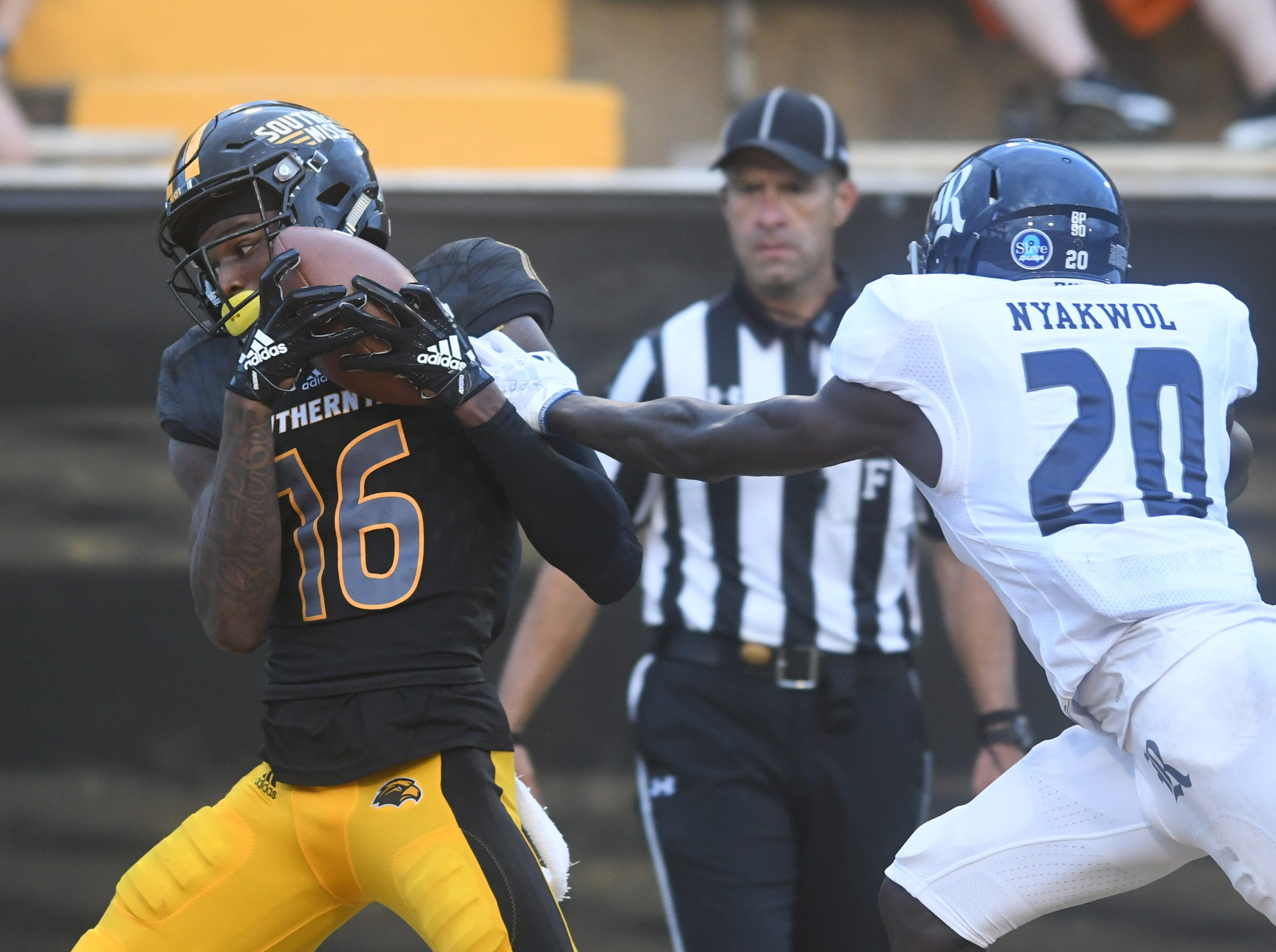 Southern Miss wide receiver Quez Watkins catches the ball for a first down in a game against Rice at M.M. Roberts Stadium on Saturday, September 22, 2018.