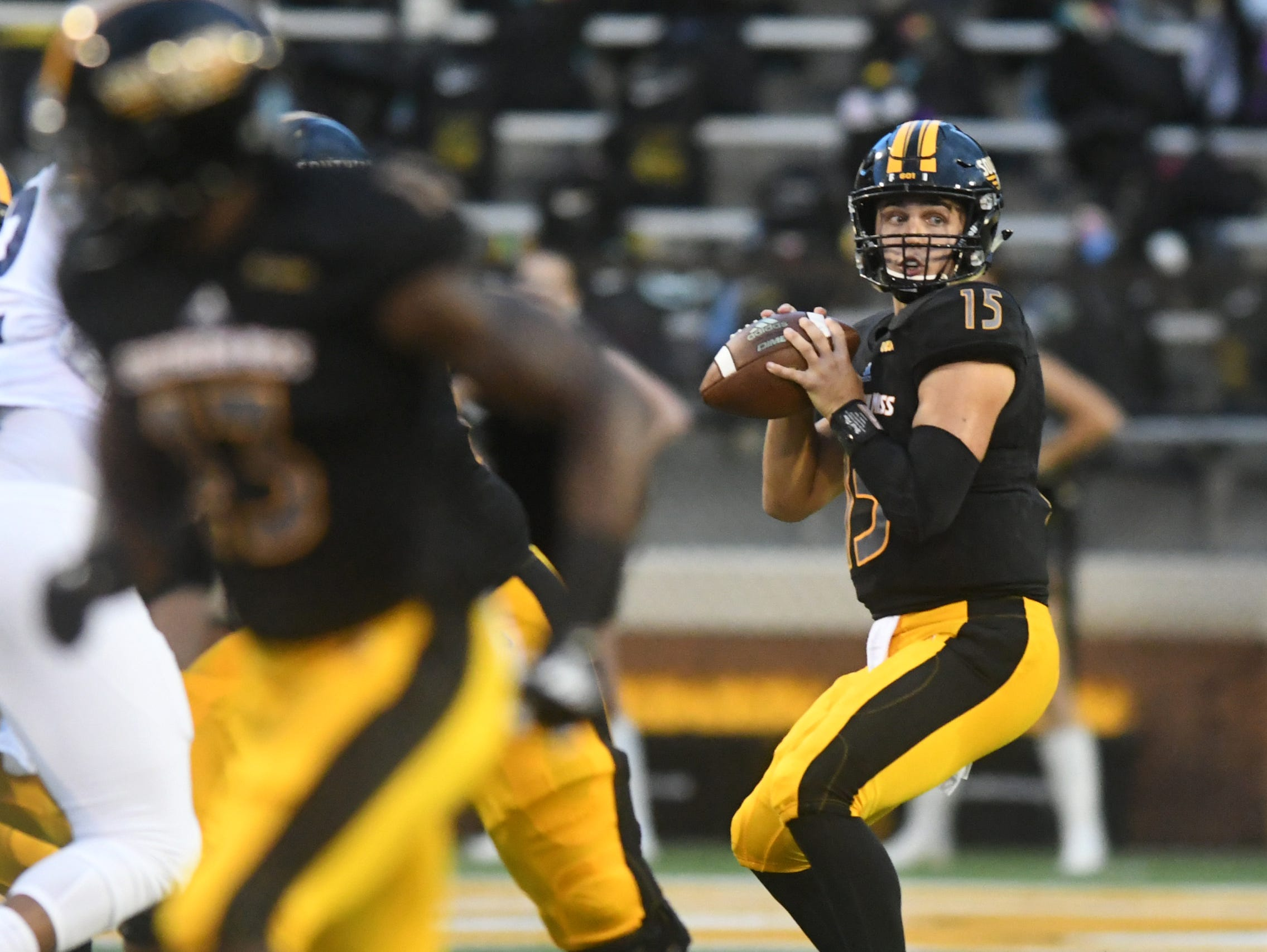Southern Miss quarterback Jack Abraham looks for a receiver in a game against Rice at M.M. Roberts Stadium on Saturday, September 22, 2018.
