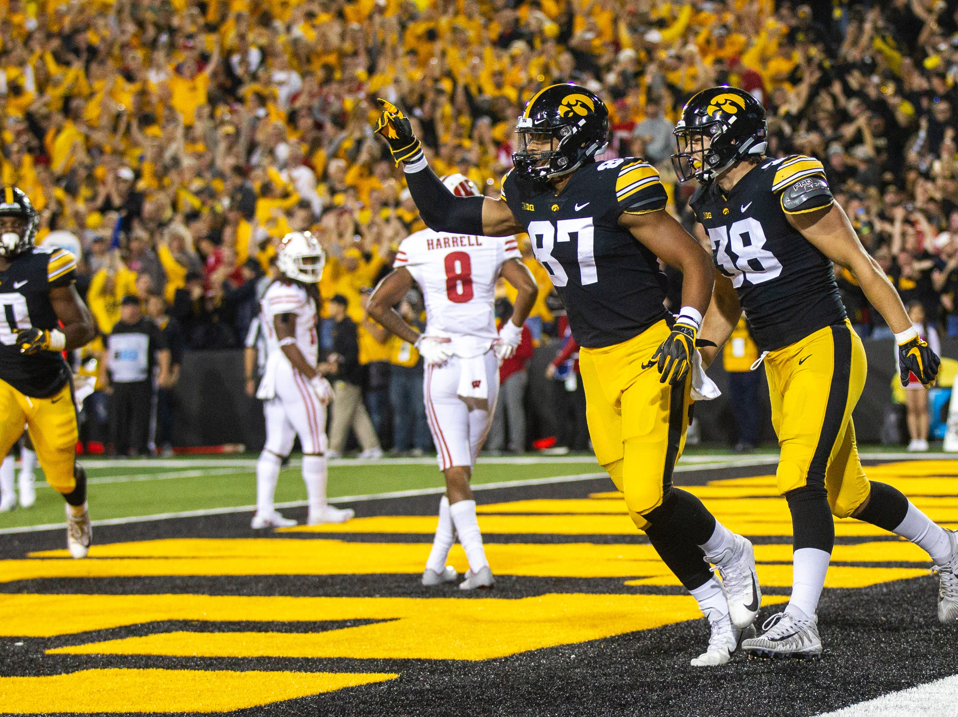 Iowa tight end Noah Fant (87) celebrates after his touchdown with Iowa tight end T.J. Hockenson (38) during an NCAA football game on Saturday, Sept. 22, 2018, at Kinnick Stadium in Iowa City.
