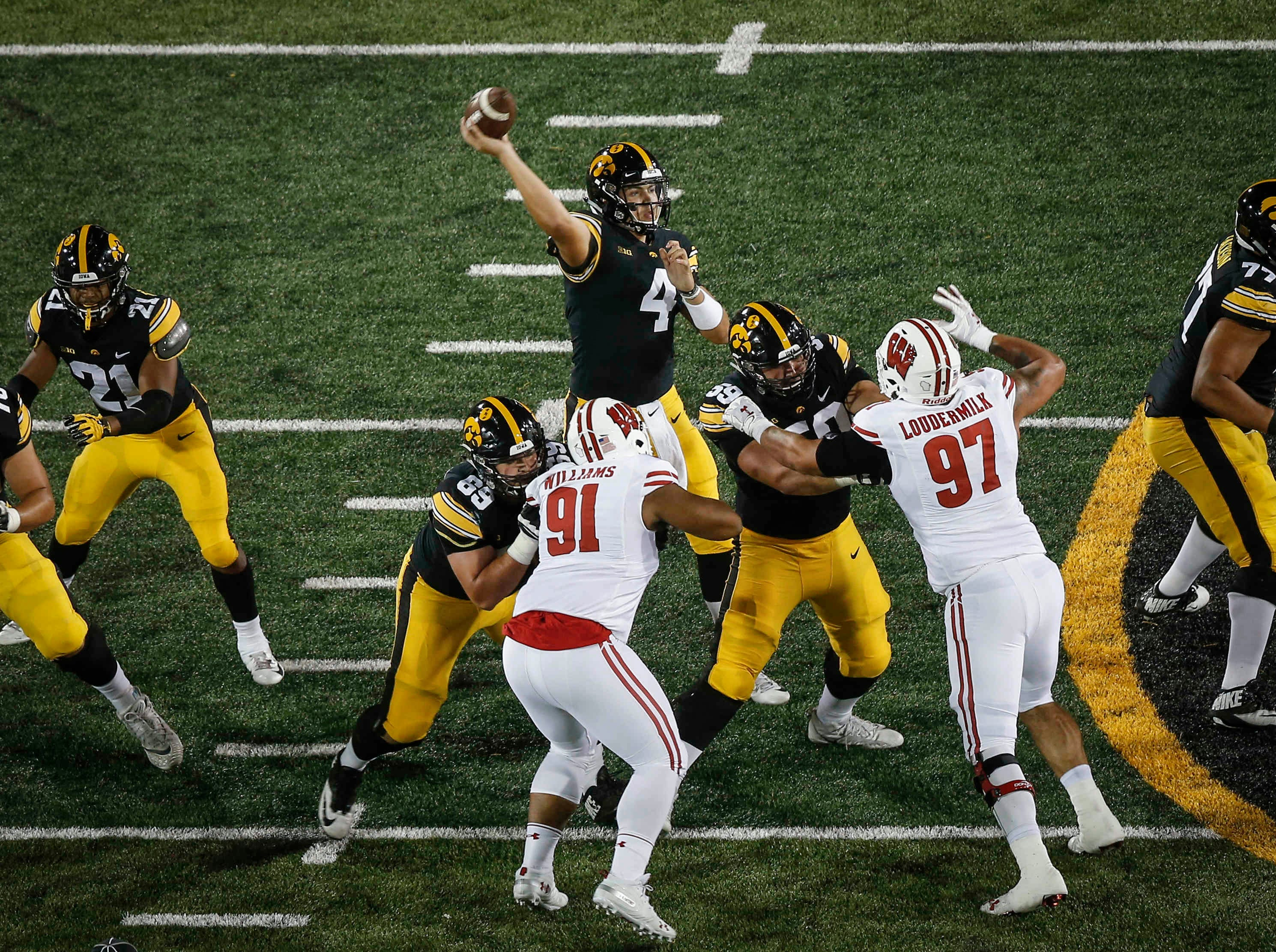 Iowa junior quarterback Nate Stanley fires a pass against Wisconsin on Saturday, Sept. 22, 2018, at Kinnick Stadium in Iowa City.