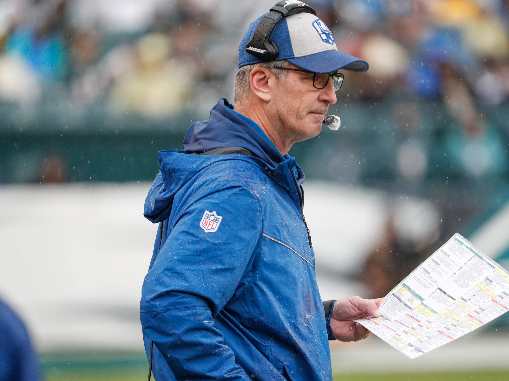 Indianapolis Colts head coach Frank Reich on the sideline during the game against the Philadelphia Eagles at Lincoln Financial Field in Philadelphia, on Sunday, Sept. 23, 2018.