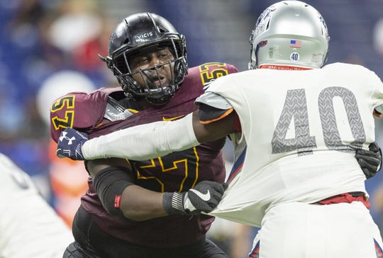 Indianapolis native and Warren Central High School graduate Bethune Cookman Wildcats offensive lineman Dwayne Brown (57) during the first half of action. Howard Bison took on Bethune Cookman Wildcats in the Circle City Classic game, Saturday, Sept. 22, 2018, at Lucas Oil Stadium.