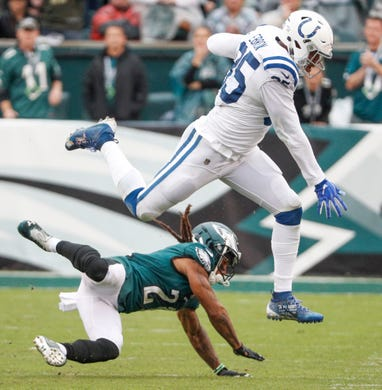 0bce843c7 Indianapolis Colts tight end Eric Ebron (85) leaps a Philadelphia Eagles  defender at Lincoln