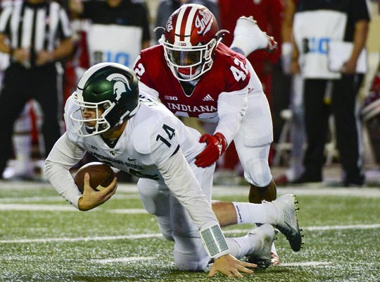 "IU defensive back Marcelino Ball, shown sacking Michigan State quarterback Brian Lewerke, is one of the most athletically gifted players on the roster and was featured in Bruce Feldman's annual preseason ""Freaks"" list this summer on The Athletic."