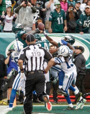 An Indianapolis Colts hailmary attempt falls short against the Philadelphia Eagles at Lincoln Financial Field in Philadelphia, on Sunday, Sept. 23, 2018.
