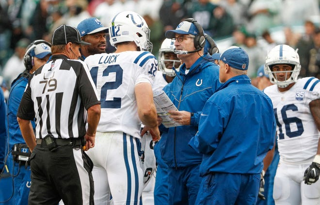 """""""I've seen a guy who is extremely accurate,"""" Colts coach Frank Reich said of Andrew Luck. """"I have no concerns about velocity."""""""