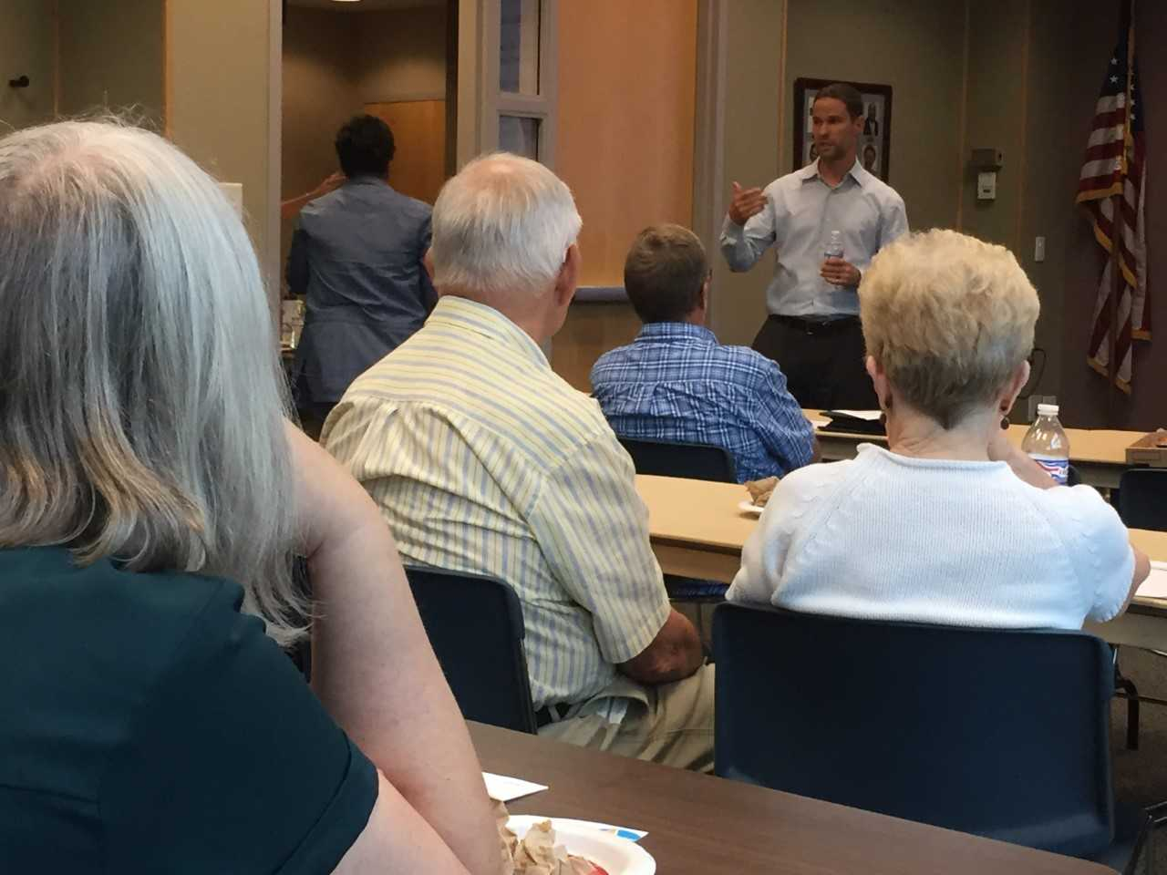 Chase Haller of the Neighborhood Christian Legal Clinic talks about tenant rights during the free Call A Lawyer program Sept. 19 at the Haughville branch of the Indianapolis Public Library.