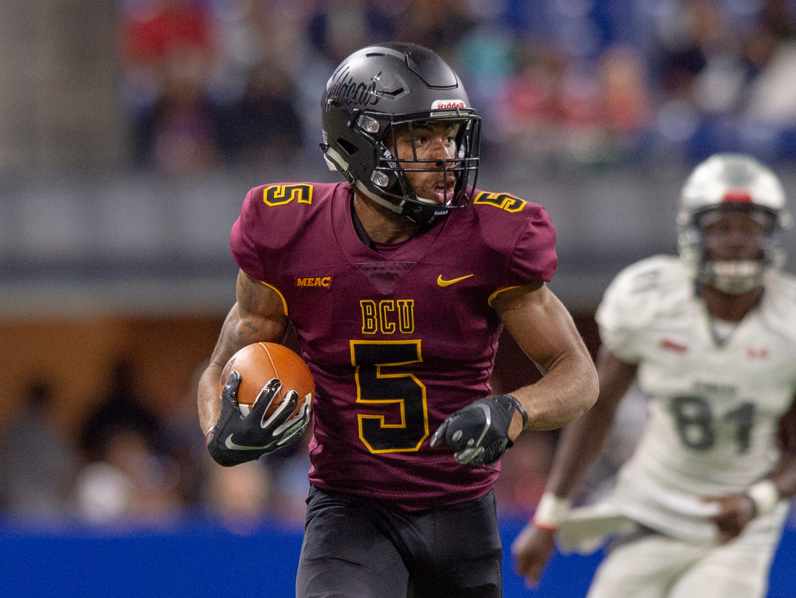 Bethune Cookman Wildcats safety Kennedy Ndukwe (5) returns a fumble recovery to the 10 yard line during the second half of action. Howard Bison took on Bethune Cookman Wildcats in the Circle City Classic game, Saturday, Sept. 22, 2018, at Lucas Oil Stadium. Howard won 14-35.