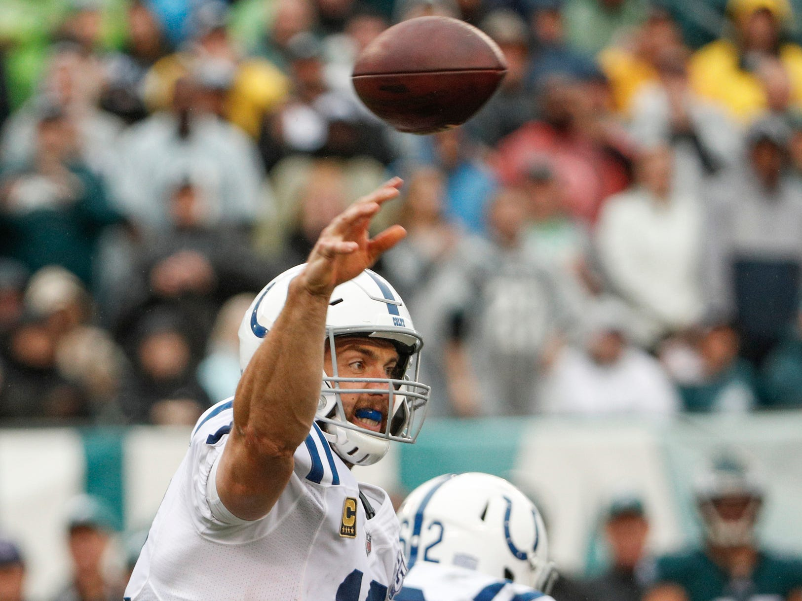 Indianapolis Colts quarterback Andrew Luck (12) delivers a pass against the Philadelphia Eagles at Lincoln Financial Field in Philadelphia, on Sunday, Sept. 23, 2018.