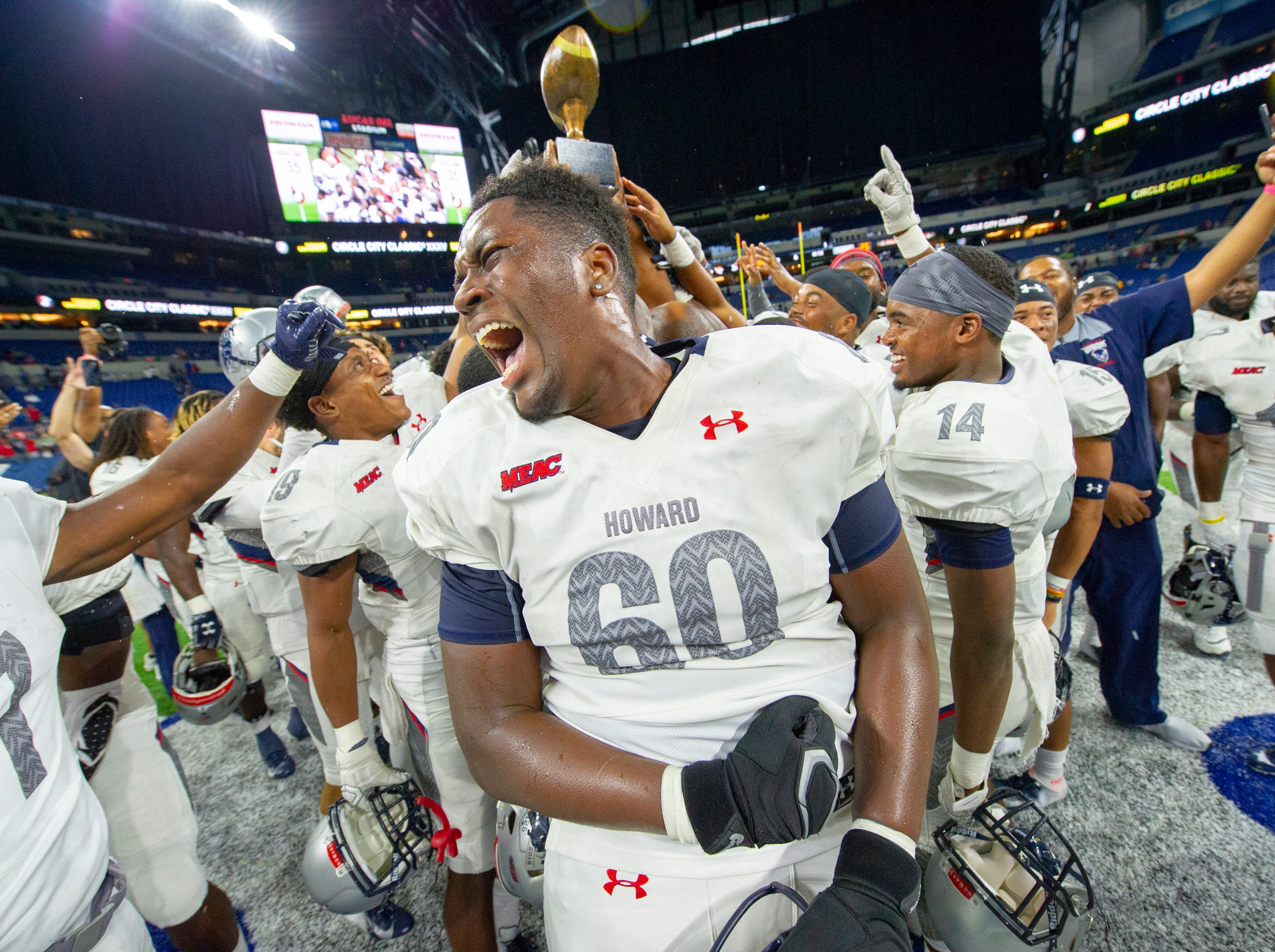 Howard Bison offensive lineman Anthony Young (60) celebrates the team's win over Bethune Cookman Wildcats.