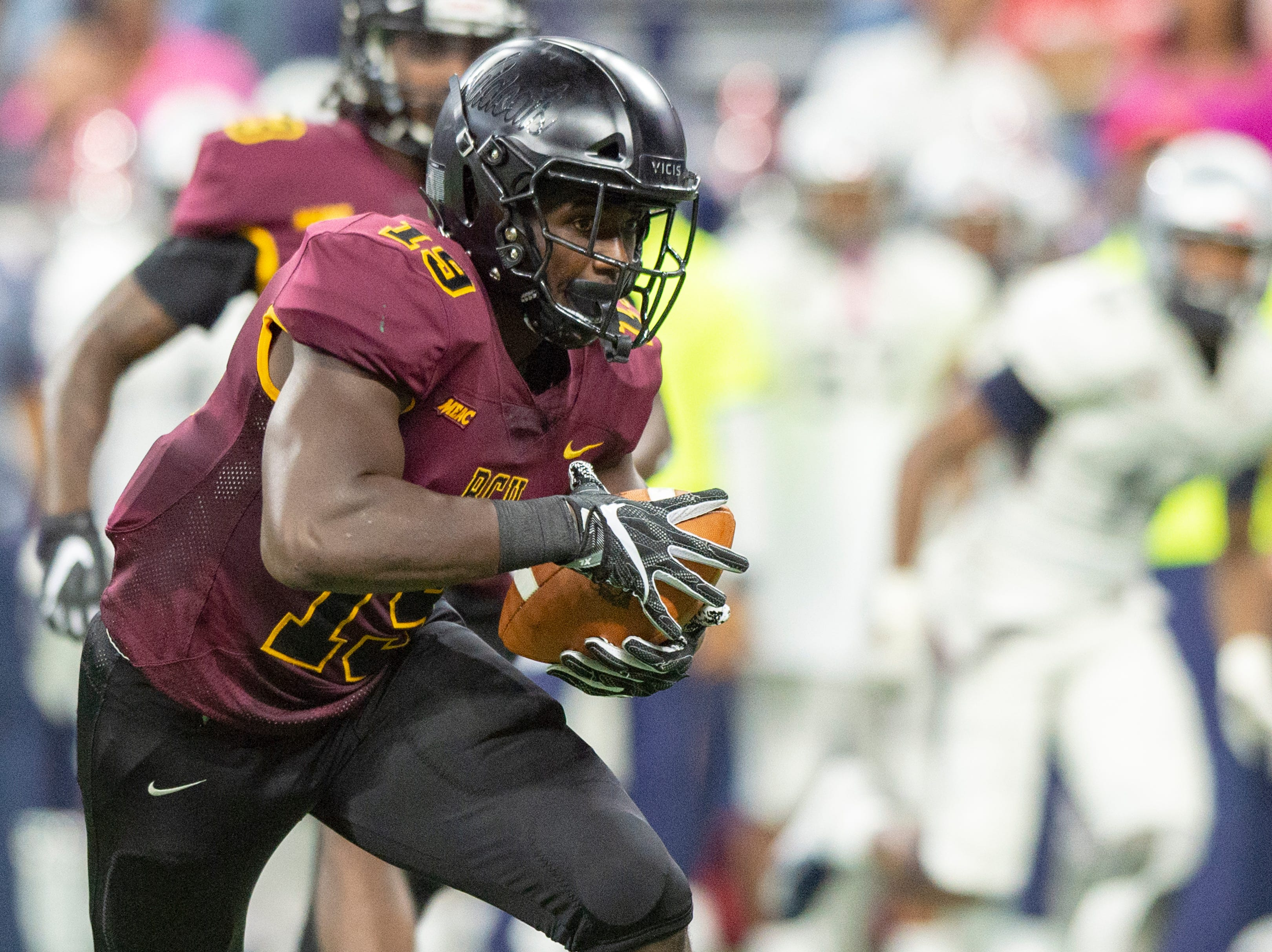 Bethune Cookman Wildcats linebacker Marquis Hendrix (19) pulls in an interception off of a tipped pass during the first half of action. Howard Bison took on Bethune Cookman Wildcats in the Circle City Classic game, Saturday, Sept. 22, 2018, at Lucas Oil Stadium.