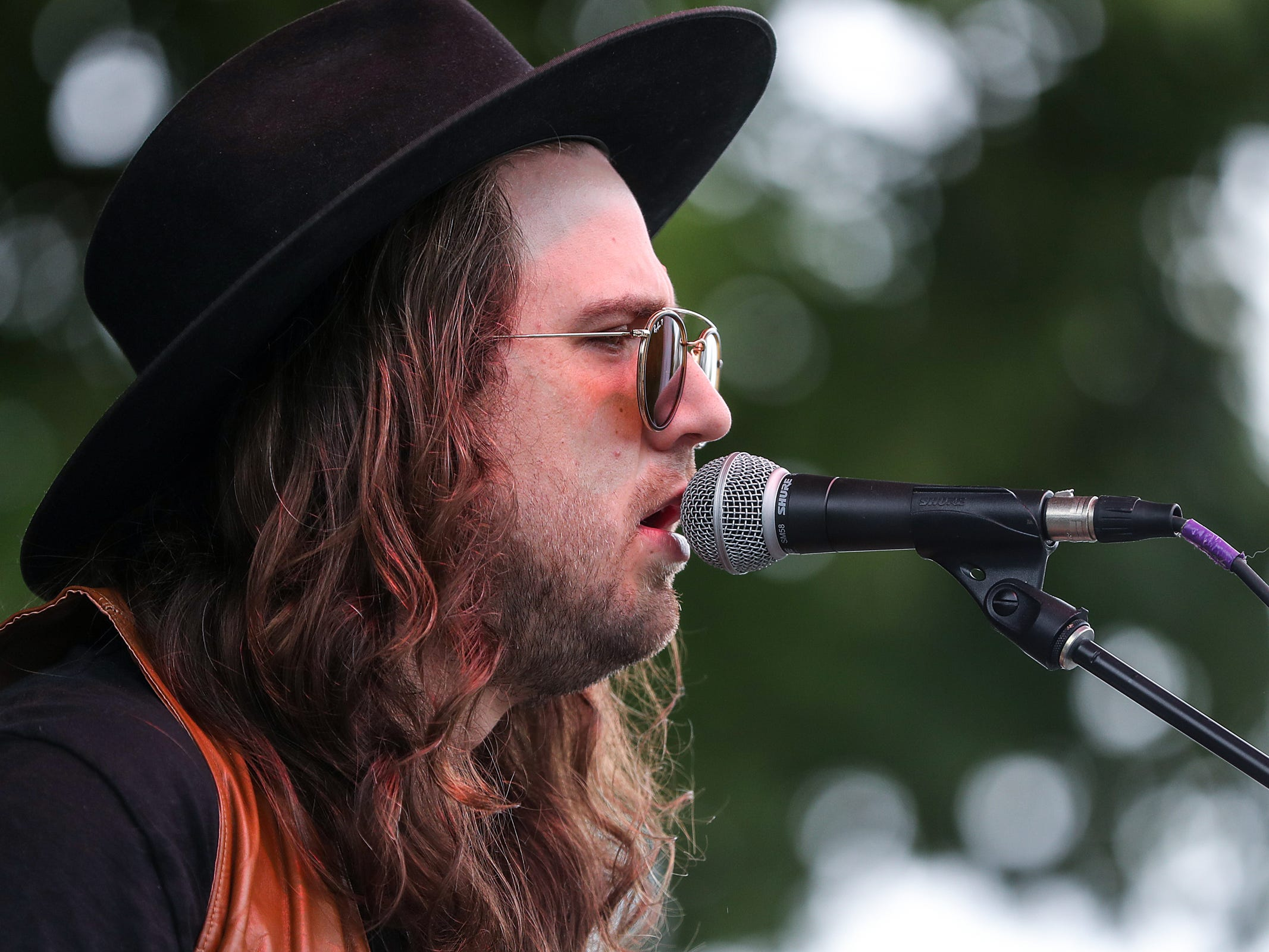 Sam Morrow, of Los Angeles, performs at the inaugural Holler on the Hill music festival at Garfield Park in Indianapolis, Saturday, Sept. 22, 2018.