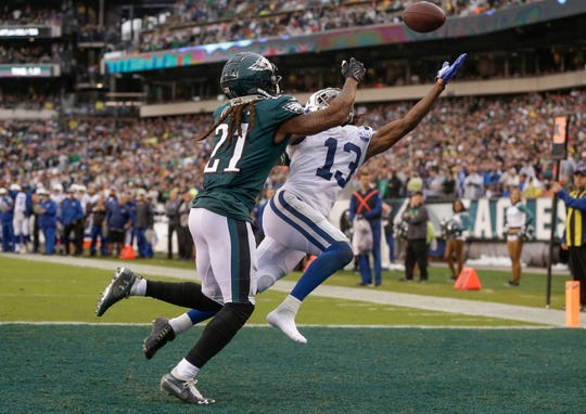 Indianapolis Colts wide receiver T.Y. Hilton (13) can't bring in the pass in the end zone late in the game against the Philadelphia Eagles at Lincoln Financial Field in Philadelphia, on Sunday, Sept. 23, 2018.