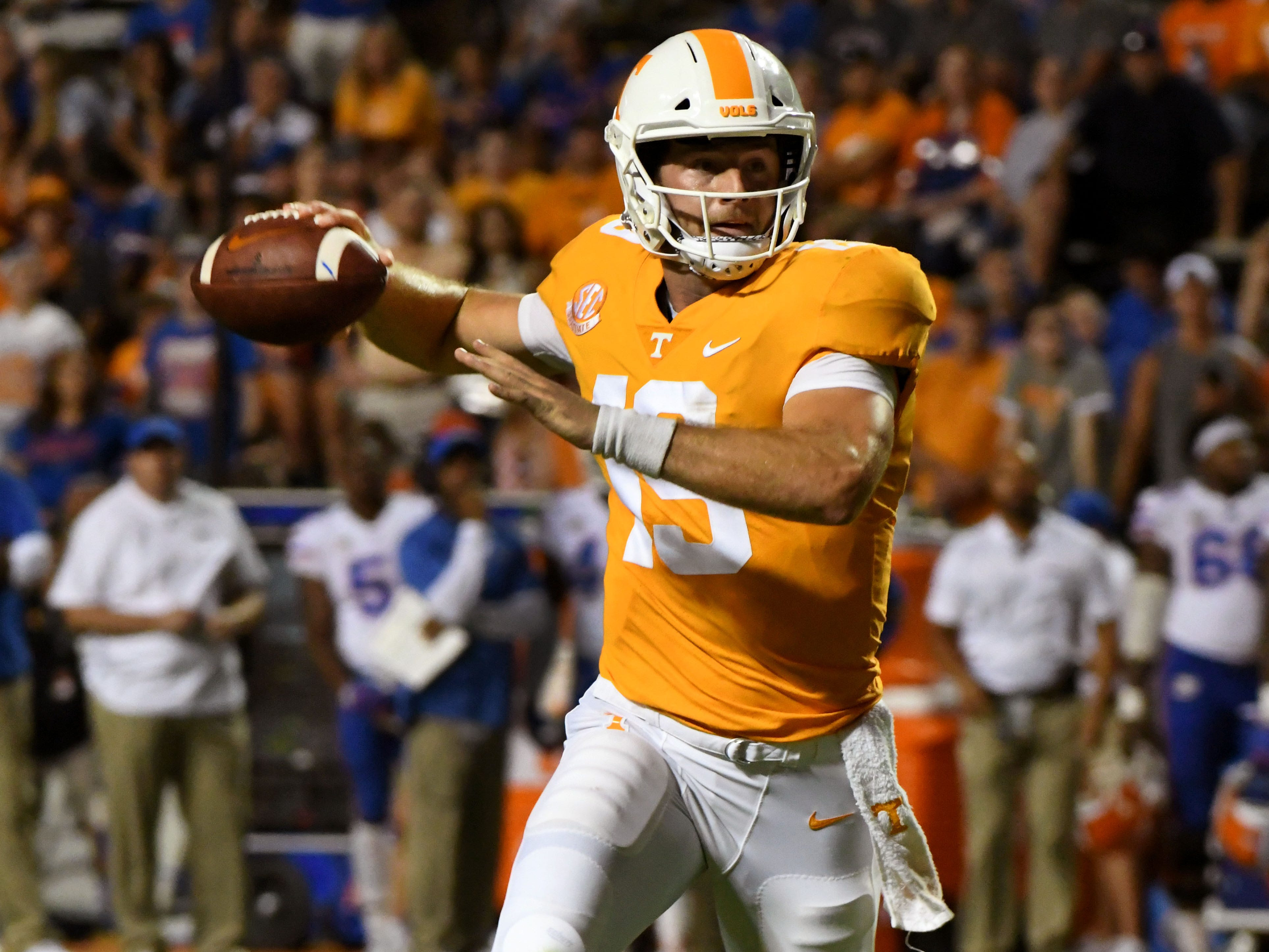 Tennessee quarterback Keller Chryst (19) during second half of their 47-21 loss to Florida in Neyland Stadium Saturday, September 22, 2018 in Knoxville, Tenn.