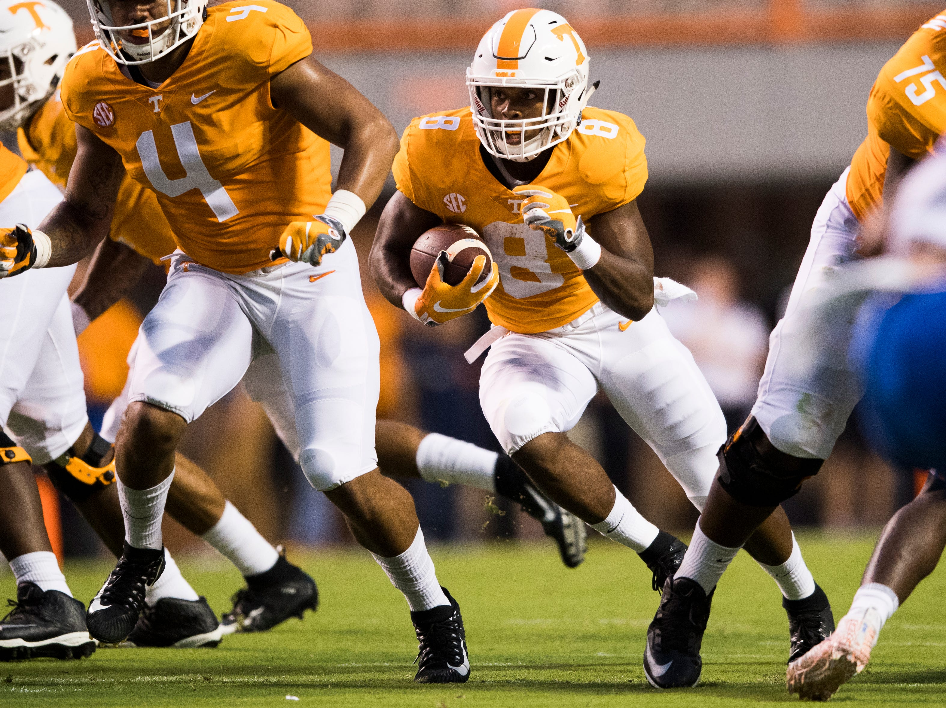 Tennessee running back Ty Chandler (8) runs with the ball during a game between Tennessee and Florida at Neyland Stadium in Knoxville, Tennessee on Saturday, September 22, 2018.