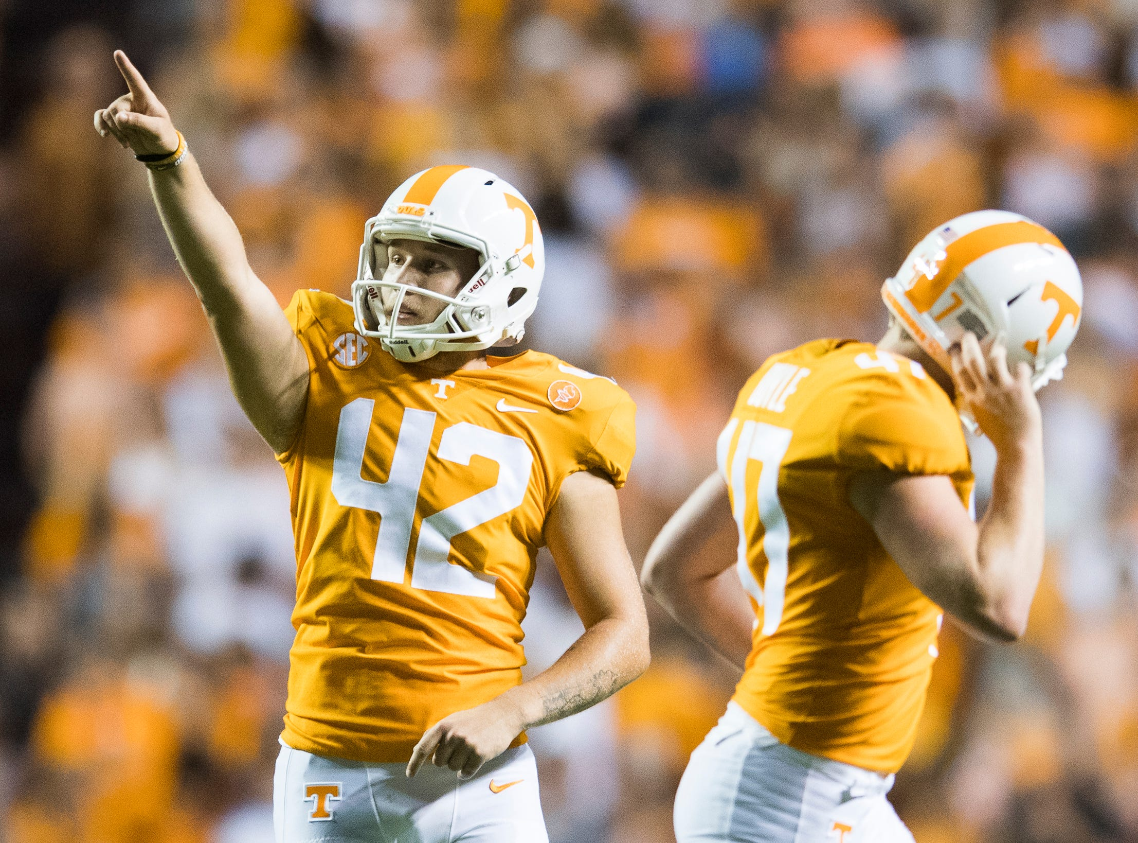 Tennessee placekicker Brent Cimaglia (42) celebrates a point during a game between Tennessee and Florida at Neyland Stadium in Knoxville, Tennessee on Saturday, September 22, 2018.