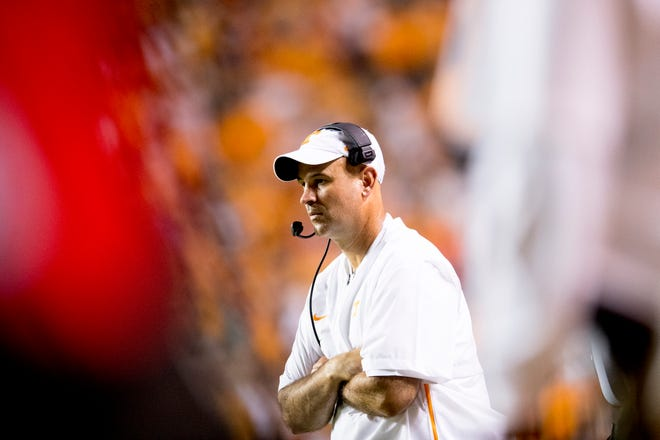 Tennessee Head Coach Jeremy Pruitt during a game between Tennessee and Florida at Neyland Stadium in Knoxville, Tennessee on Saturday, September 22, 2018.