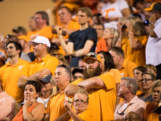 Tennessee fans react after another Tennessee turnover during the Tennessee Volunteers' game against Florida in Neyland Stadium on Saturday, Sept. 22, 2018.