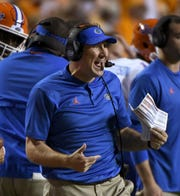 Florida Head Coach Dan Mullen during second half of their 47-21 win over Tennessee in Neyland Stadium Saturday, September 22, 2018 in Knoxville, Tenn.