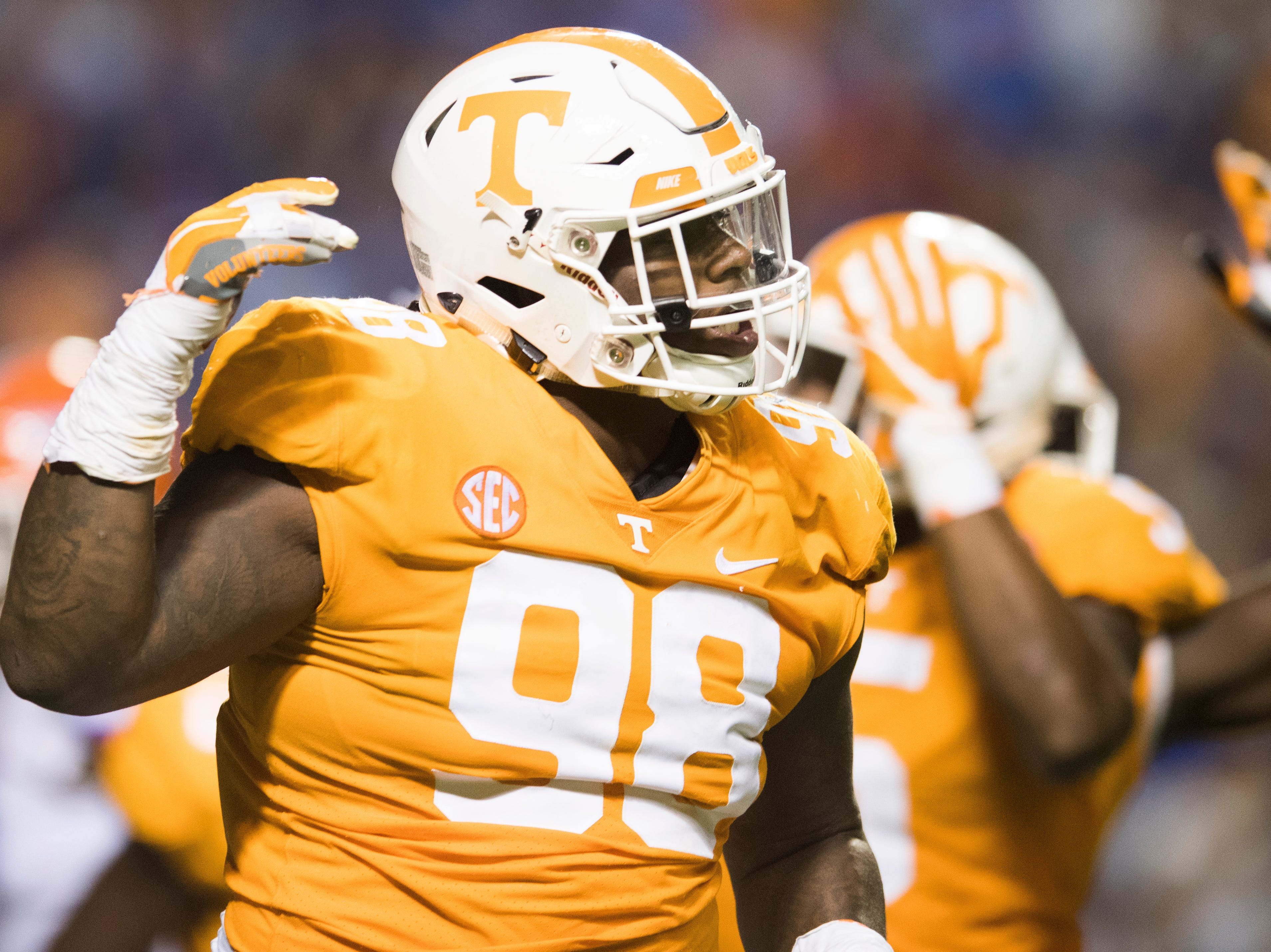 Tennessee defensive lineman Alexis Johnson Jr. (98) reacts after making a play during a game between Tennessee and Florida at Neyland Stadium in Knoxville, Tennessee on Saturday, September 22, 2018.