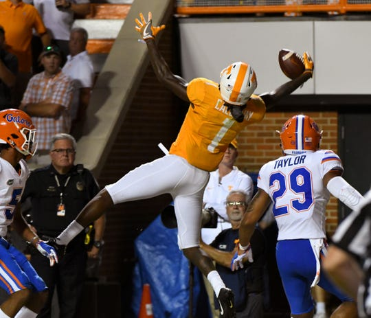 Tennessee wide receiver Marquez Callaway (1) catches a pass that was ruled out of bounds during second half of their 47-21 loss to Florida in Neyland Stadium Saturday, September 22, 2018 in Knoxville, Tenn.