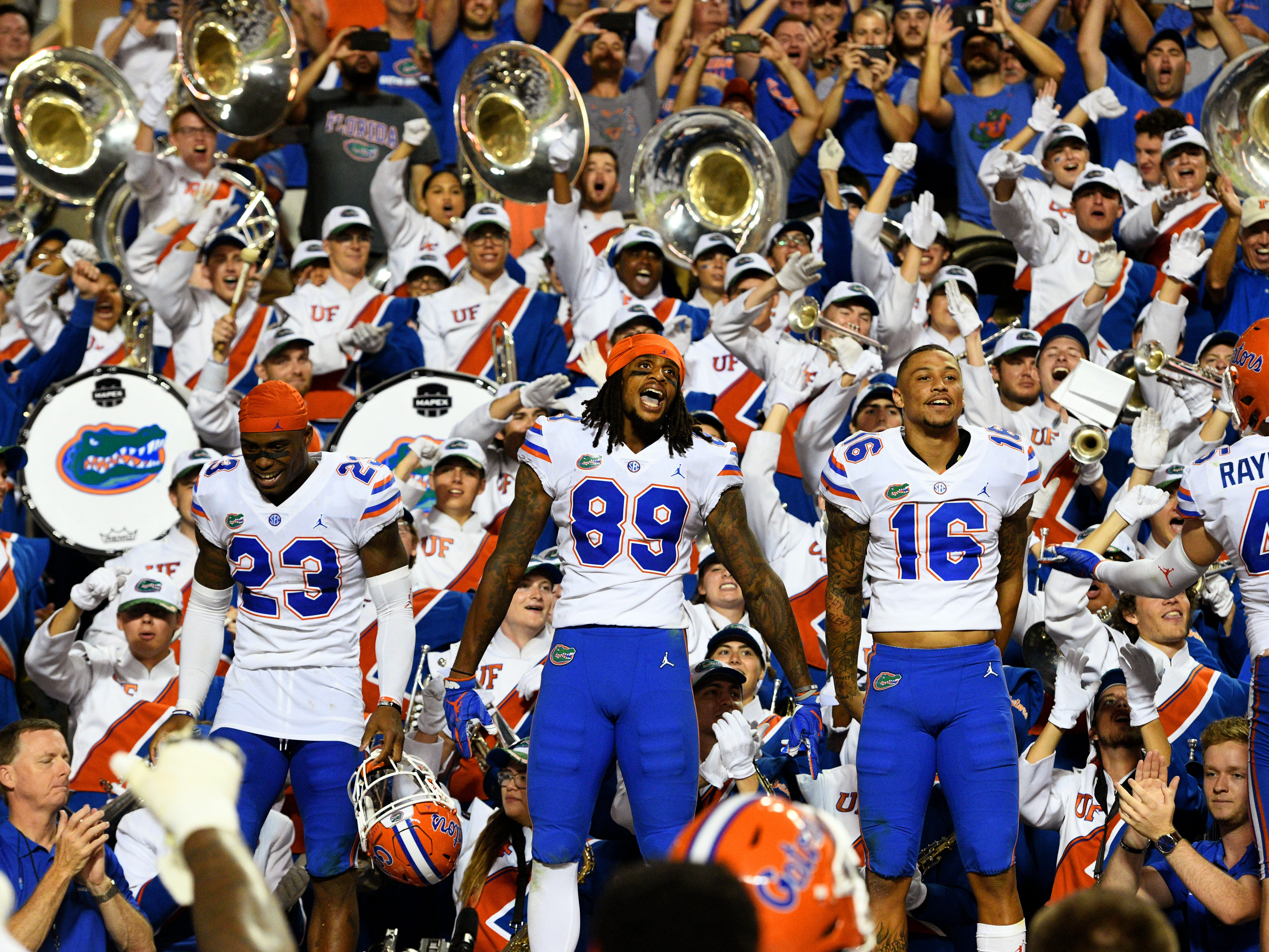 Florida wide receiver Tyrie Cleveland (89) and his teammates celecrate their 47-21 win over Tennessee in Neyland Stadium Saturday, September 22, 2018 in Knoxville, Tenn.