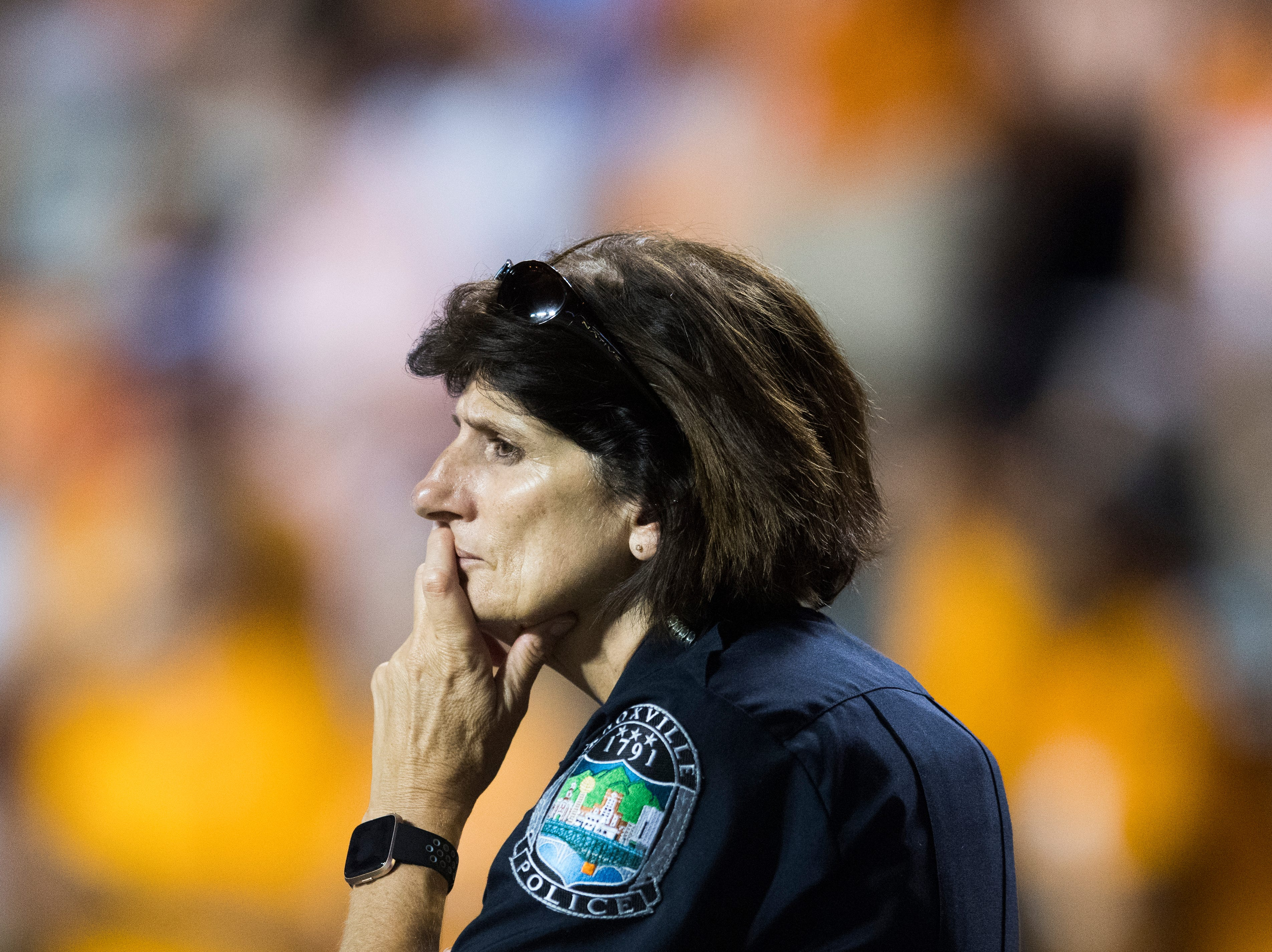 Knoxville Chief of Police Eve Thomas stands on the sidelines during a game between Tennessee and Florida at Neyland Stadium in Knoxville, Tennessee on Saturday, September 22, 2018.