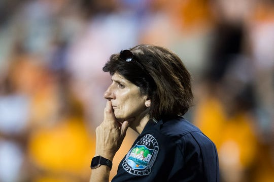 Knoxville Chief of Police Eve Thomas stands on the sidelines during a game between Tennessee and Florida at Neyland Stadium in Knoxville, Tennessee on Sep. 22.