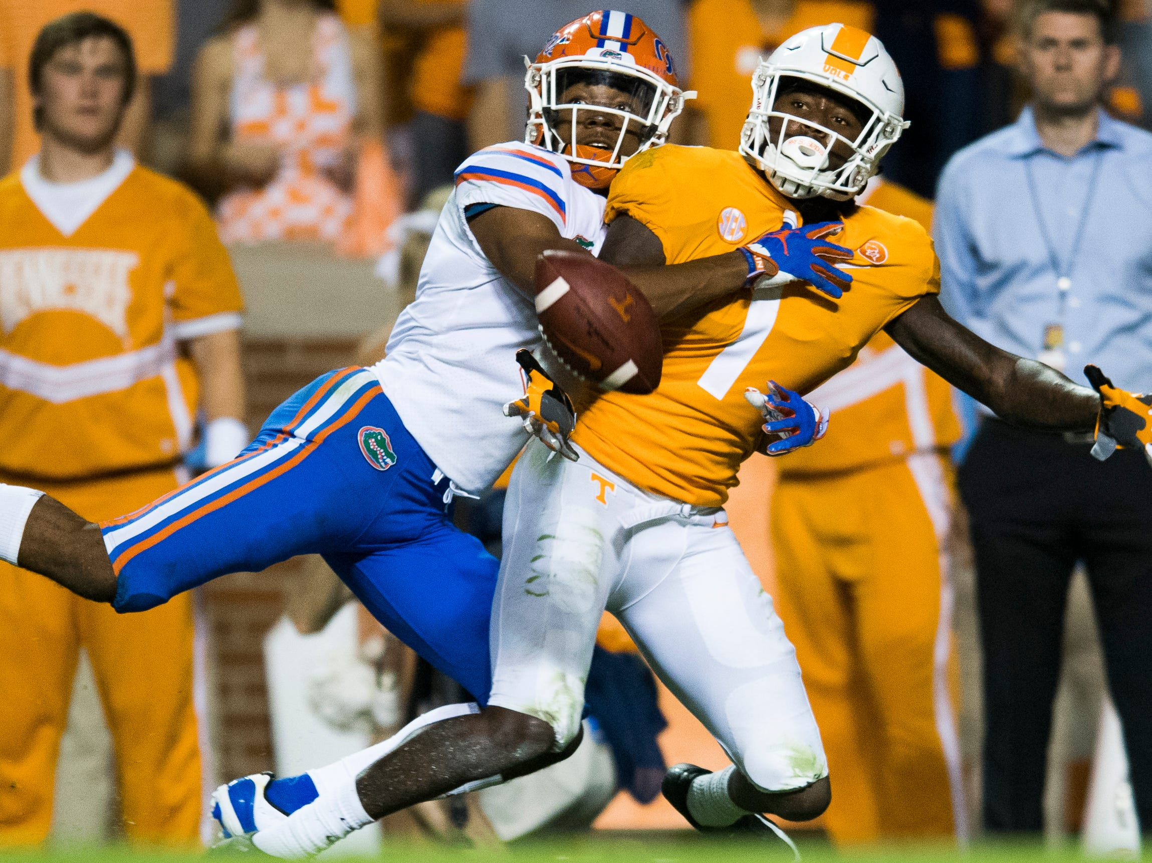 Florida defensive back Marco Wilson (3) denies Tennessee wide receiver Marquez Callaway (1) the pass during a game between Tennessee and Florida at Neyland Stadium in Knoxville, Tennessee on Saturday, September 22, 2018.