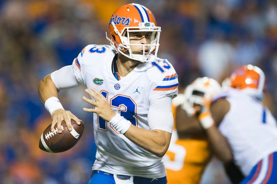 Florida quarterback Feleipe Franks (13) looks to pass during a game between Tennessee and Florida at Neyland Stadium in Knoxville, Tennessee on Saturday, September 22, 2018.