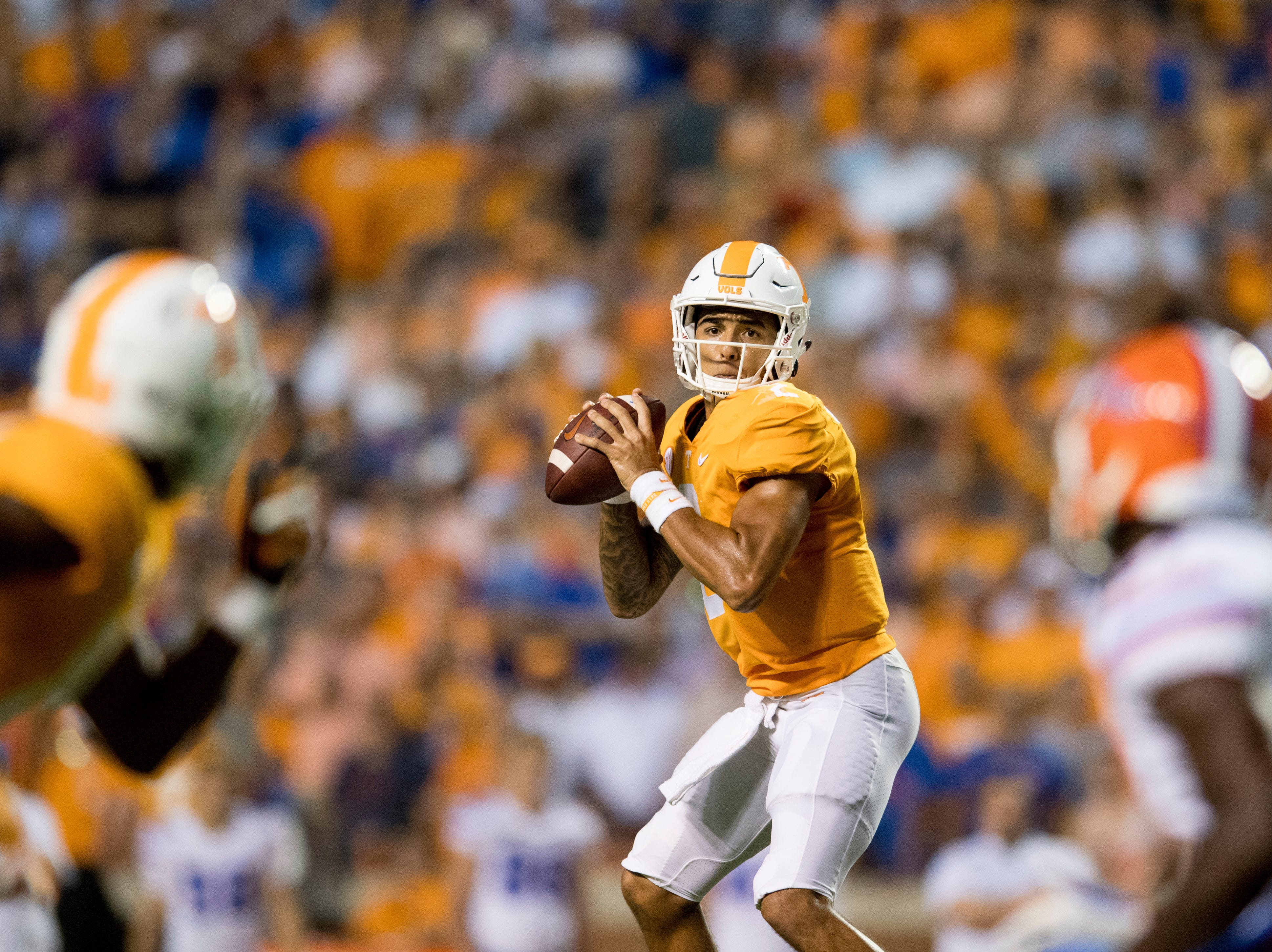 Tennessee quarterback Jarrett Guarantano (2) lines up a pass during a game between Tennessee and Florida at Neyland Stadium in Knoxville, Tennessee on Saturday, September 22, 2018.