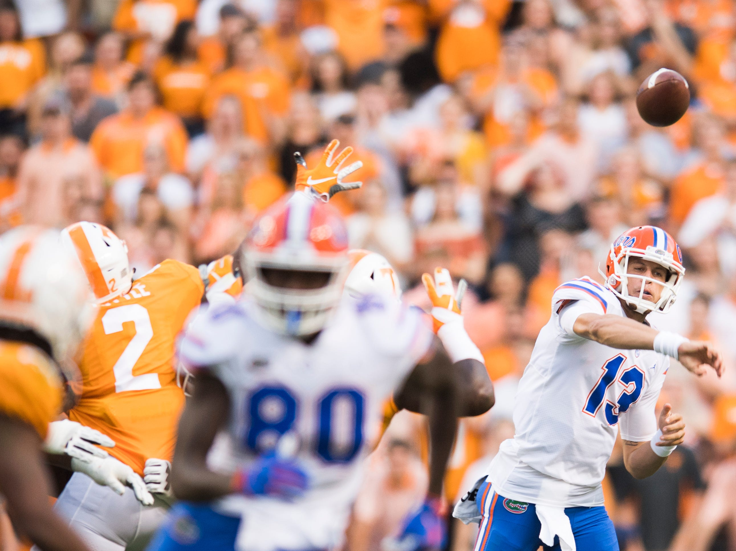 Florida quarterback Feleipe Franks (13) throws a pass during a game between Tennessee and Florida at Neyland Stadium in Knoxville, Tennessee on Saturday, September 22, 2018.