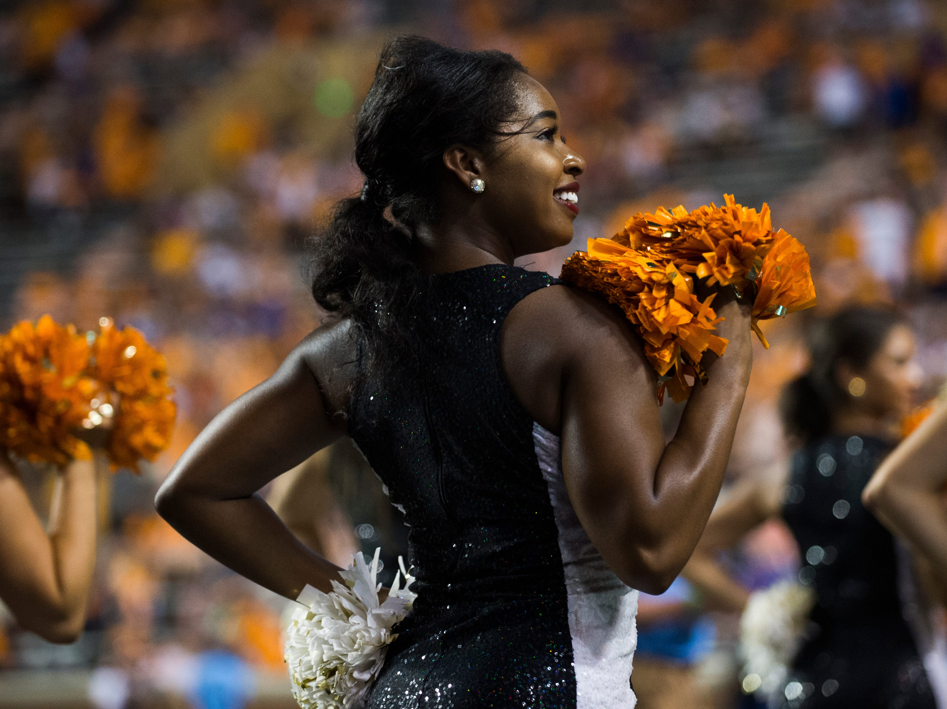 A Tennessee dance team member performs during a game between Tennessee and Florida at Neyland Stadium in Knoxville, Tennessee on Saturday, September 22, 2018.