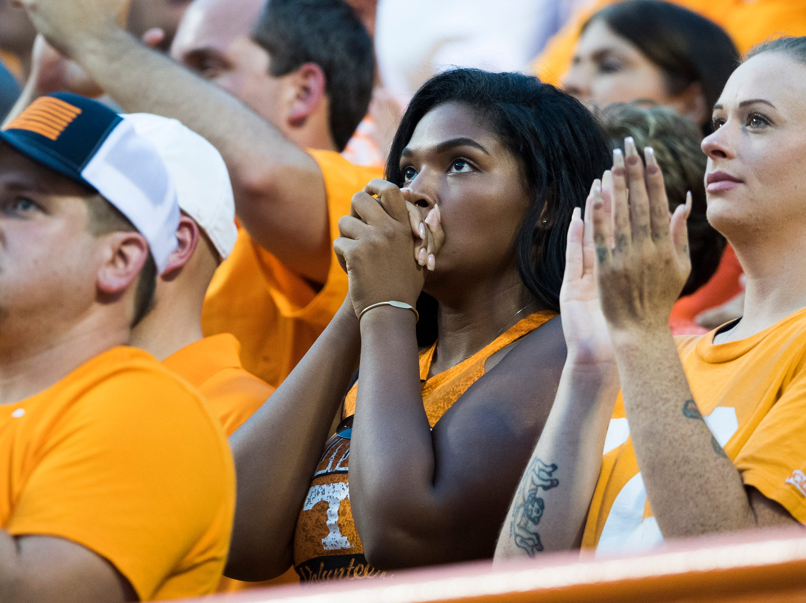 A Vol fan watches the game in the stands during a game between Tennessee and Florida at Neyland Stadium in Knoxville, Tennessee on Saturday, September 22, 2018.