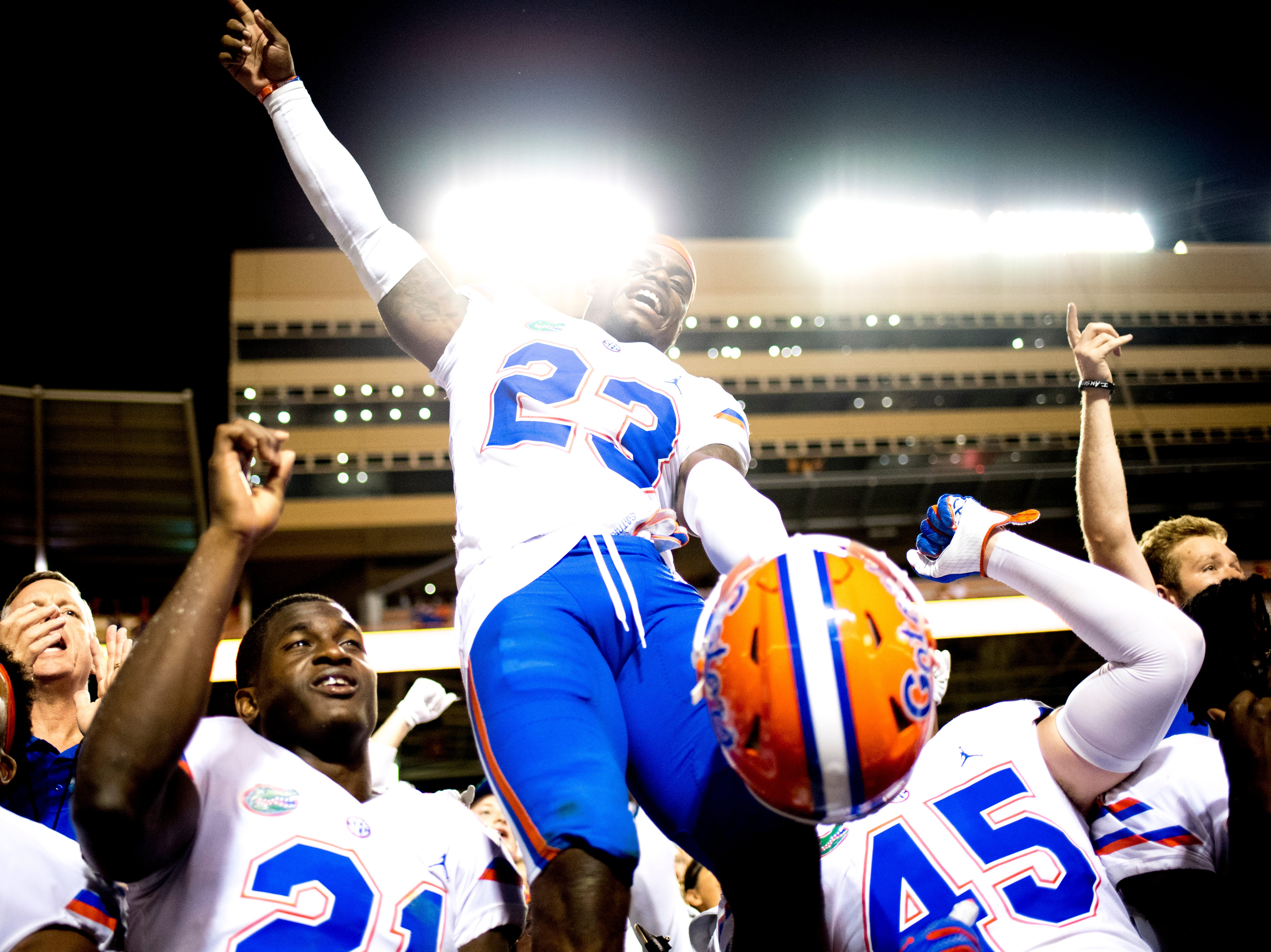 Florida defensive back Chauncey Gardner-Johnson (23) celebrates with team mates during a game between Tennessee and Florida at Neyland Stadium in Knoxville, Tennessee on Saturday, September 22, 2018.