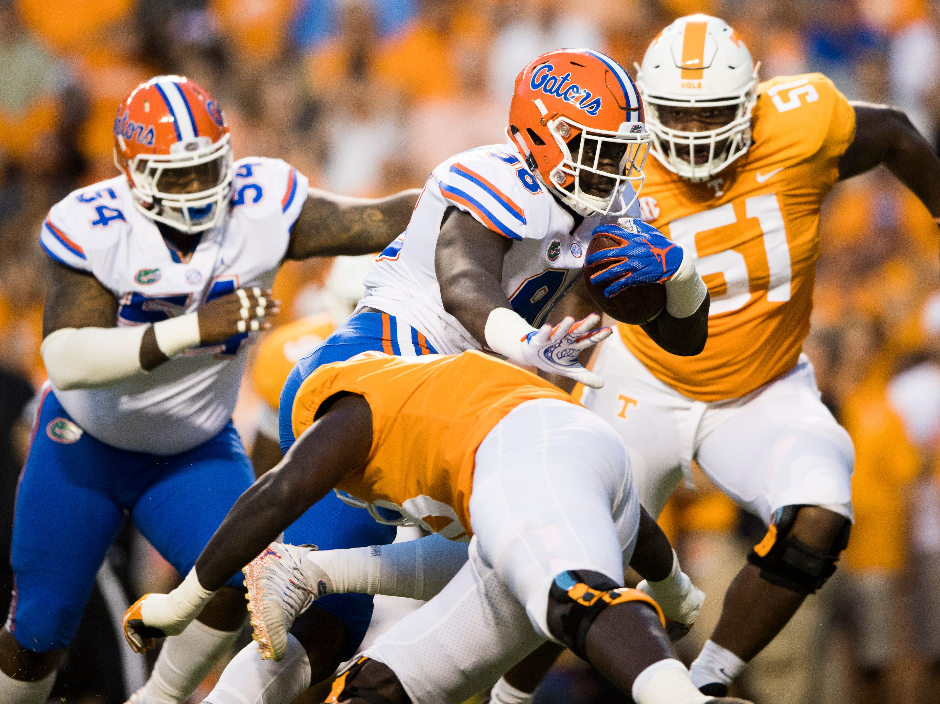 Florida defensive lineman Luke Ancrum (98) pushes away the Tennessee defense during a game between Tennessee and Florida at Neyland Stadium in Knoxville, Tennessee on Saturday, September 22, 2018.