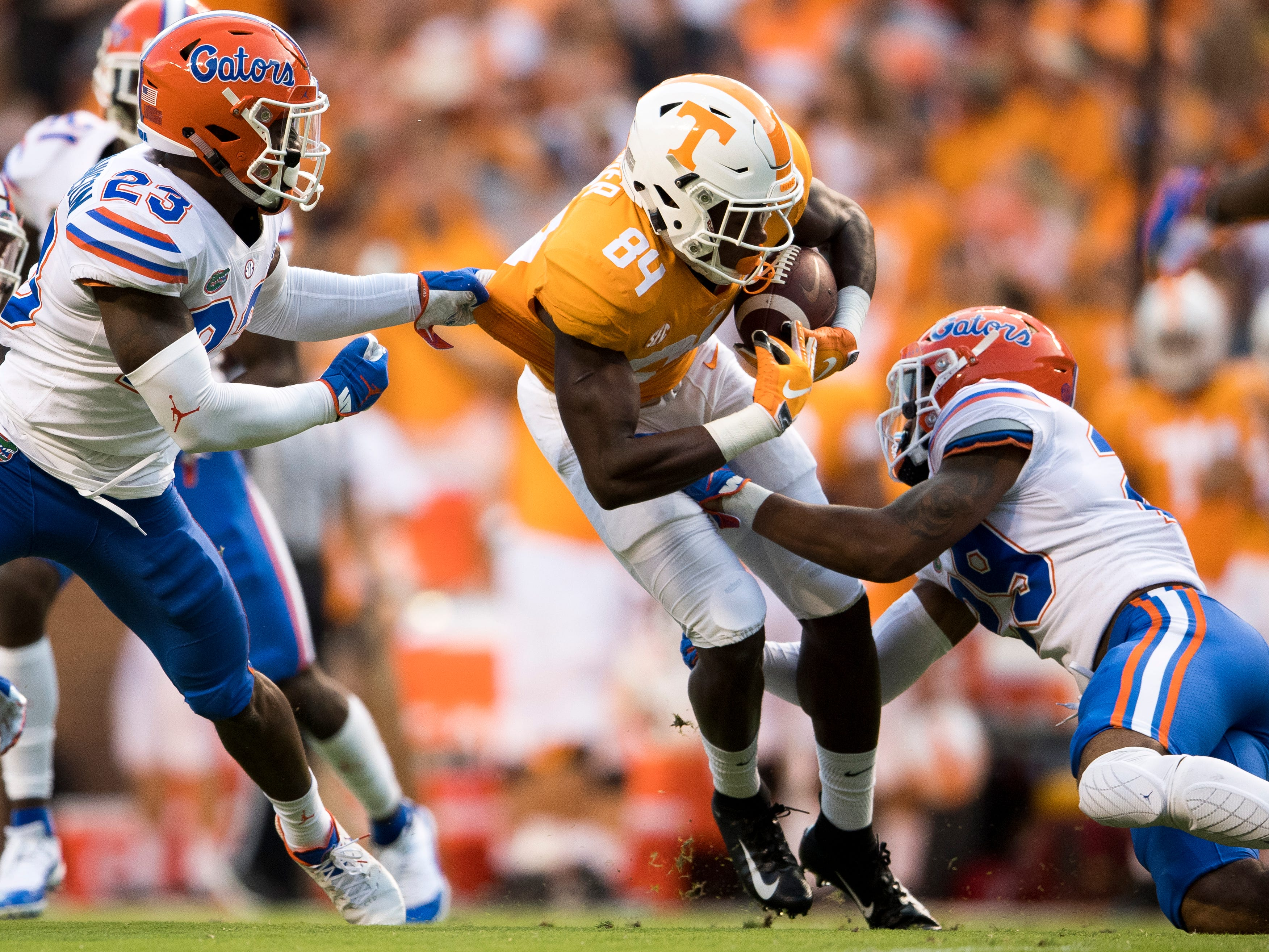 Tennessee wide receiver Josh Palmer (84) fights for extra yards during the Tennessee Volunteers' game against Florida in Neyland Stadium on Saturday, Sept. 22, 2018.