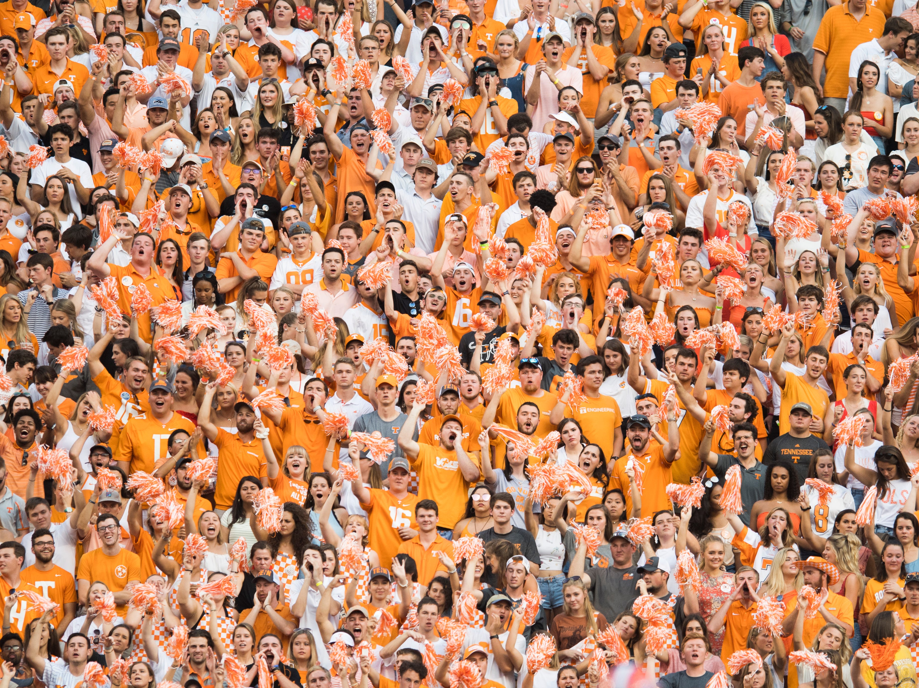 Vol fans cheer during a game between Tennessee and Florida at Neyland Stadium in Knoxville, Tennessee on Saturday, September 22, 2018.