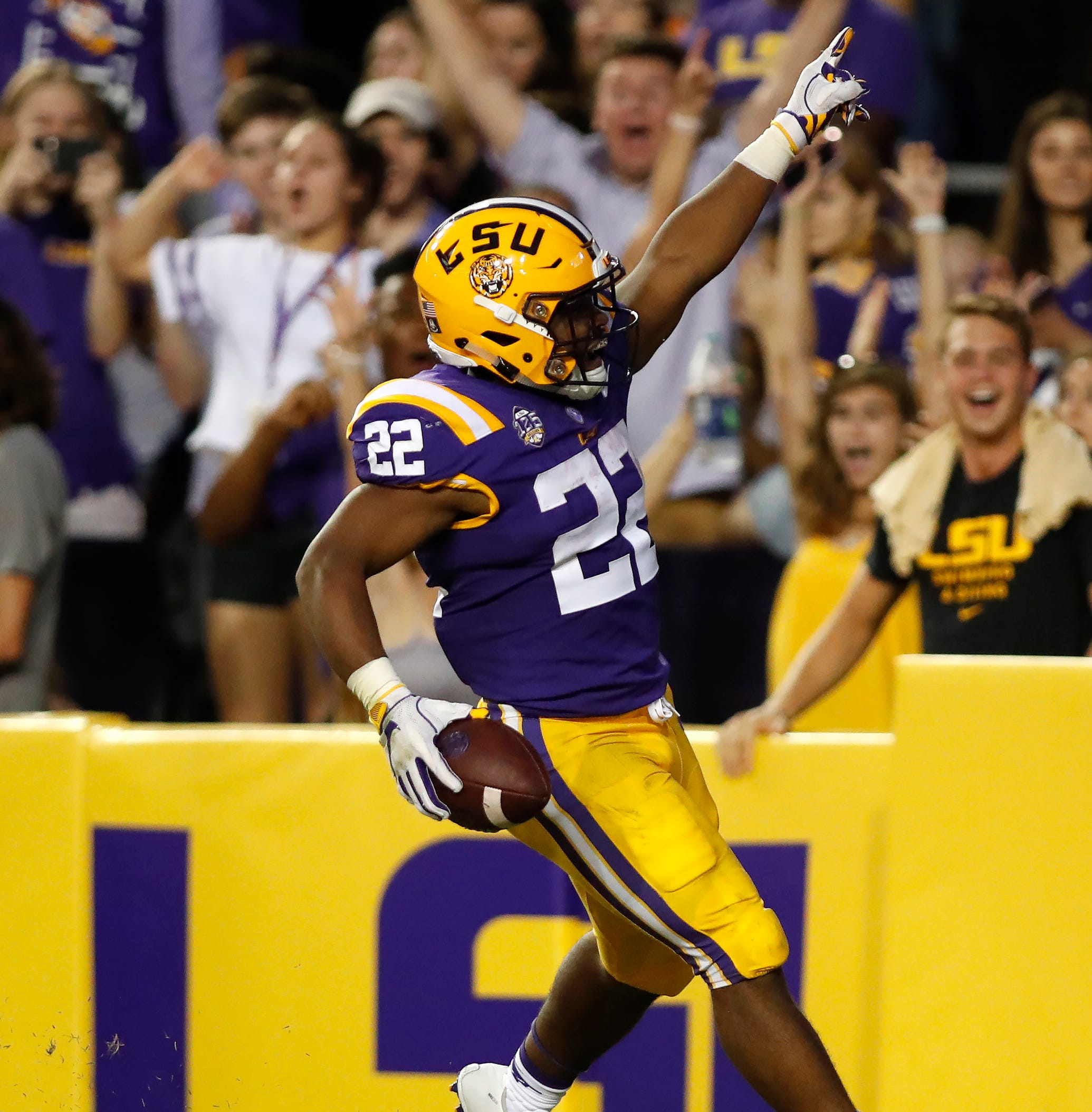 LSU wide receiver Justin Jefferson (2) reacts after scoring a touchdown against Louisiana Tech in the first half of an NCAA college football game against in Baton Rouge, La., Saturday, Sept. 22, 2018.