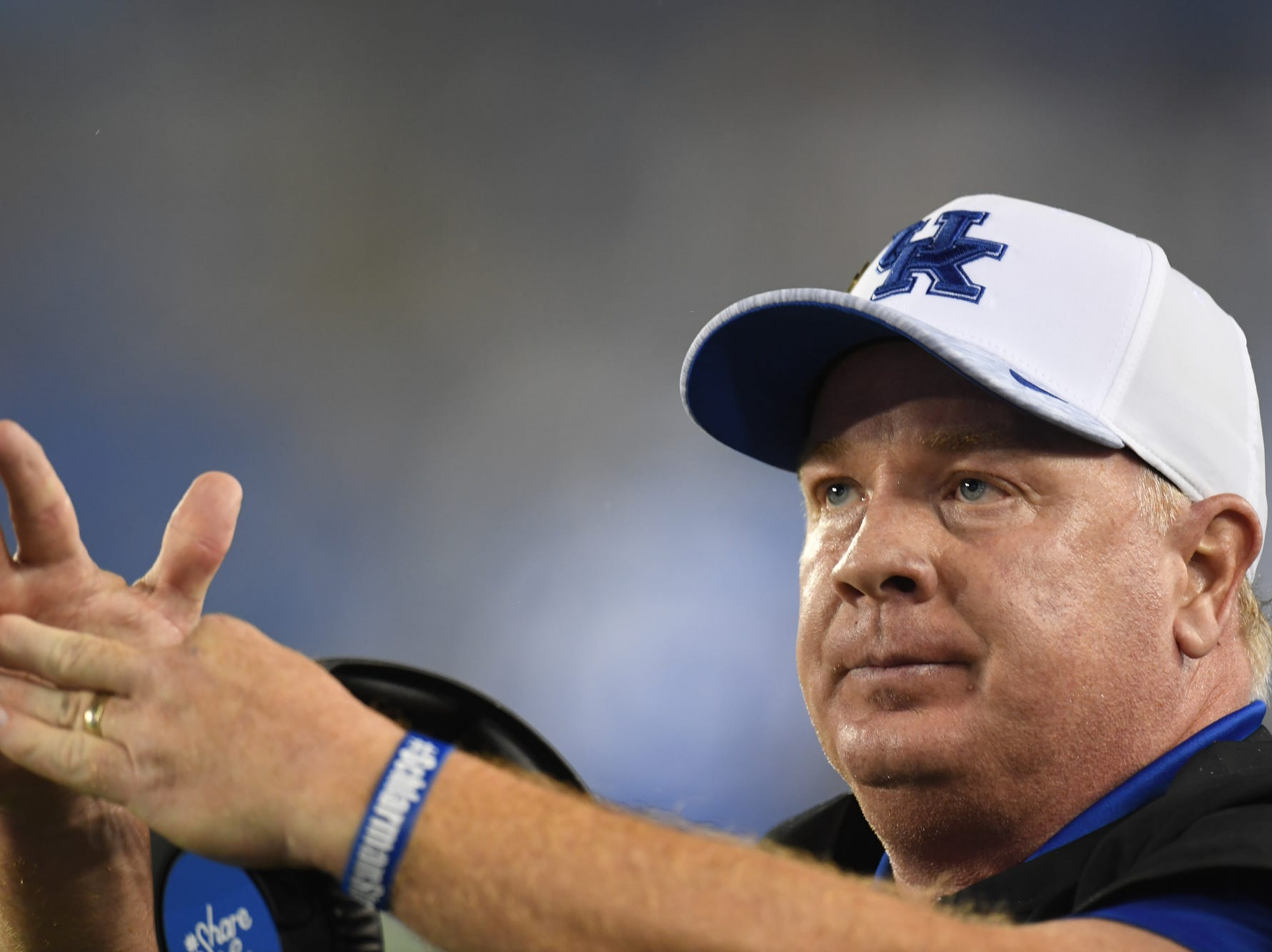 UK head coach Mark Stoops calls a timeout during the University of Kentucky football game against Mississippi State at Kroger Field in Lexington, Kentucky on Saturday, September 22, 2018.